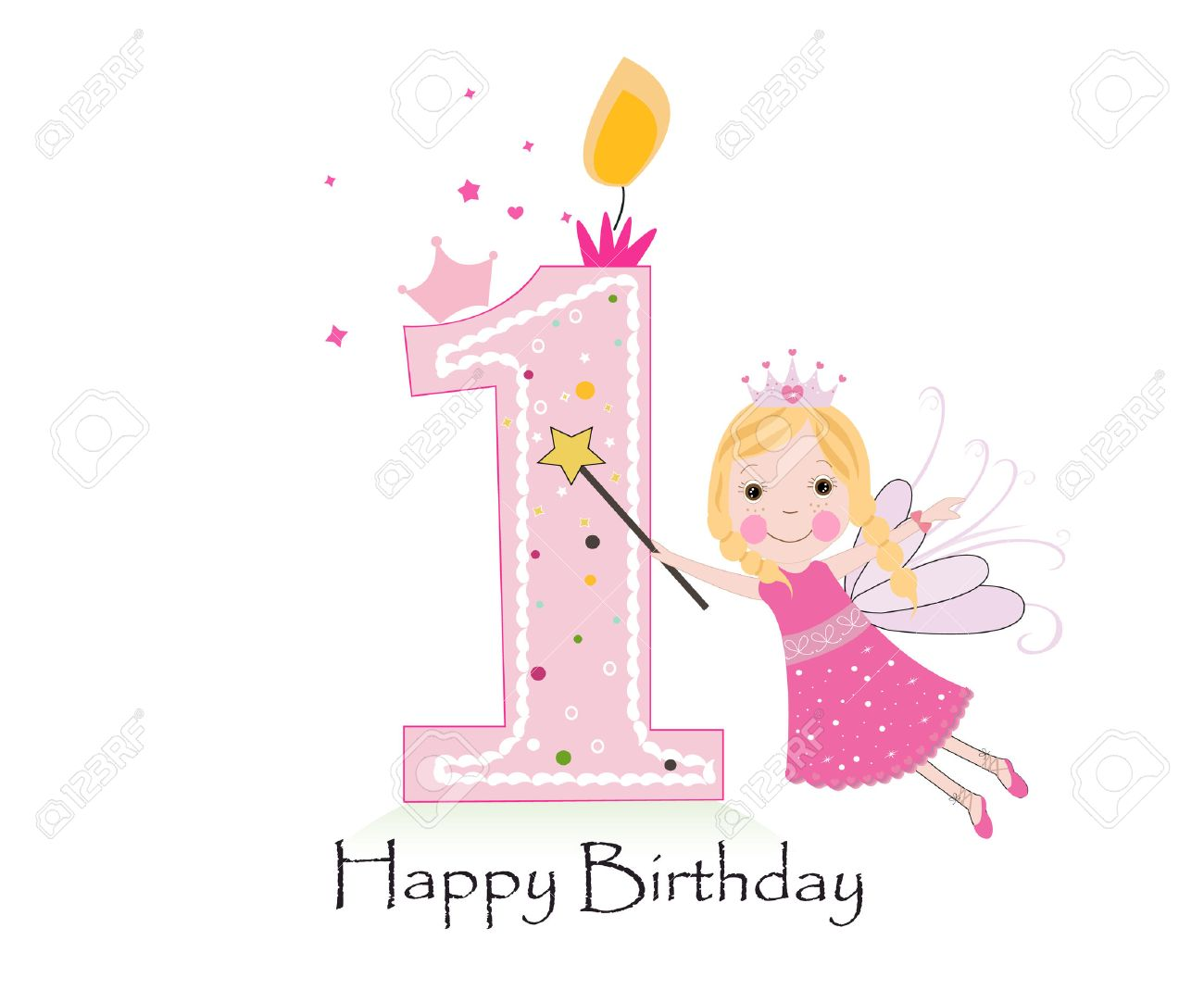Happy first birthday candle. Baby girl greeting card with fairy tale vector background - 55679483