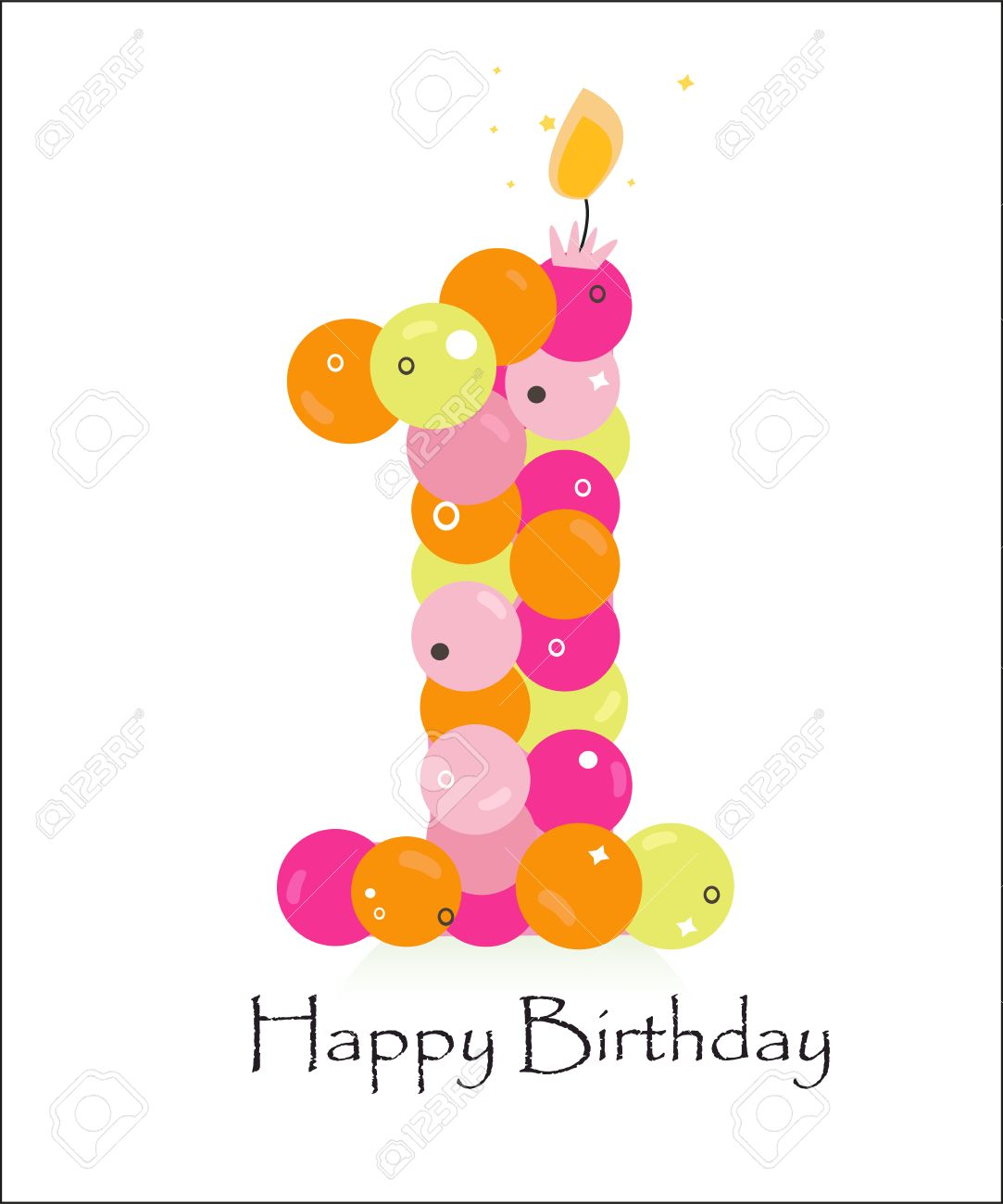 Happy First Birthday Card With Bubble Vector Background Stock