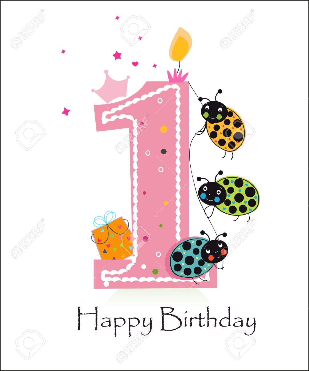 Happy First Birthday Baby Girl With Funny Ladybird Greeting Card – Happy 1st Birthday Card