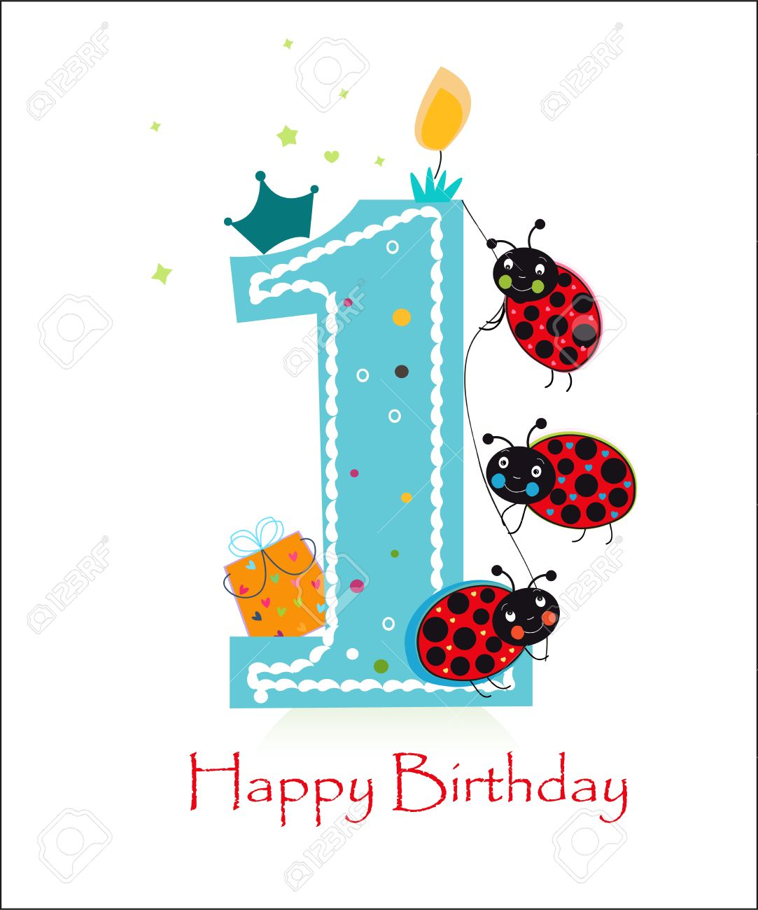 Happy First Birthday Baby Boy With Funny Ladybird Greeting Card