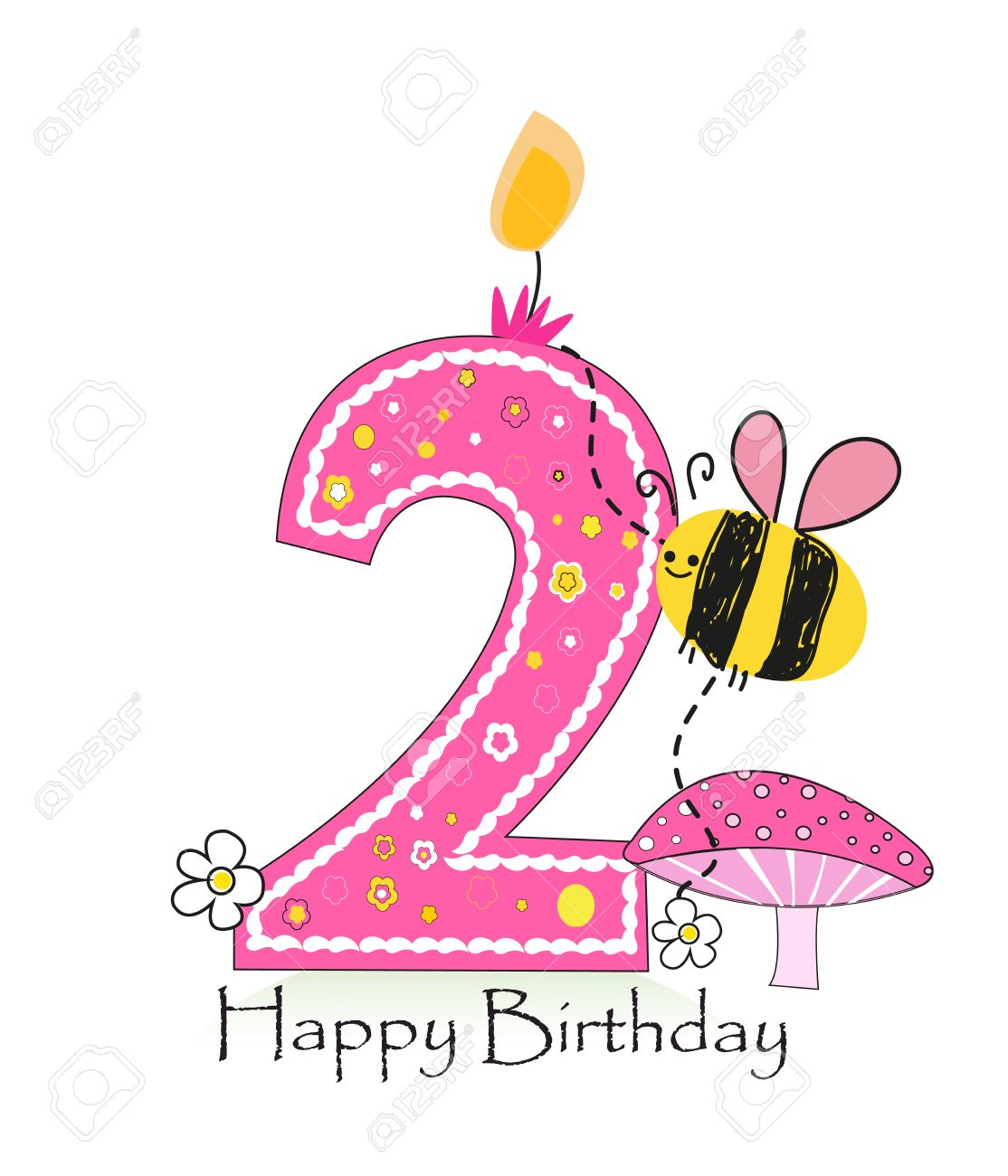 Happy second birthday candle baby girl greeting card with bee happy second birthday candle baby girl greeting card with bee and daisy vector background stock kristyandbryce Gallery