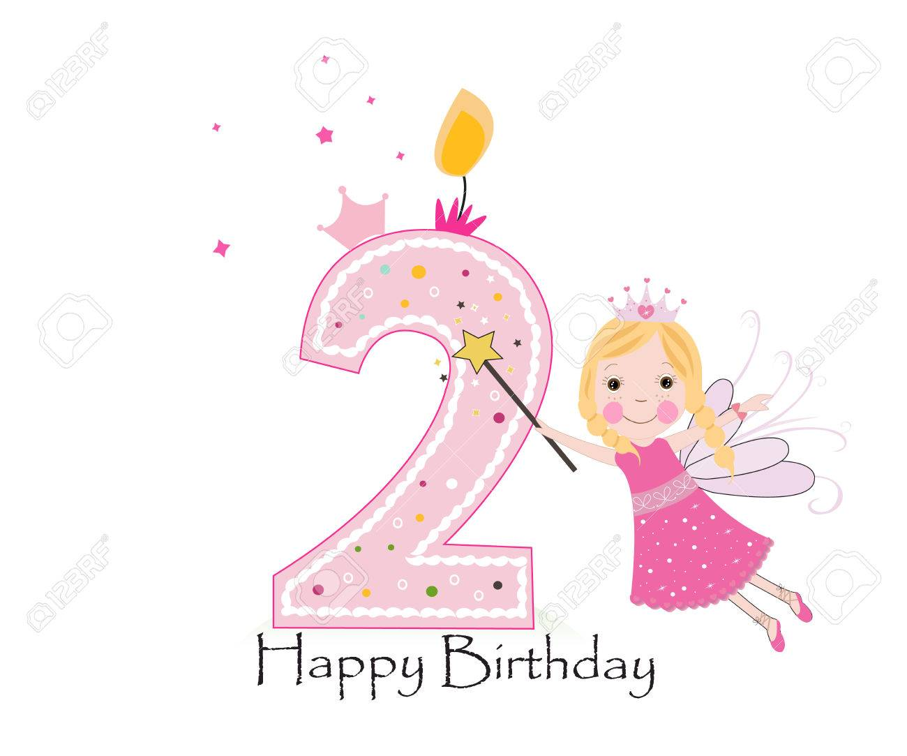 Happy second birthday candle baby girl greeting card with fairy happy second birthday candle baby girl greeting card with fairy tale vector background stock vector kristyandbryce Image collections