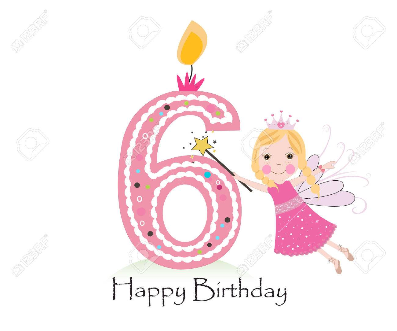 Happy sixth birthday candle. Baby girl greeting card with fairy tale vector background - 55679504