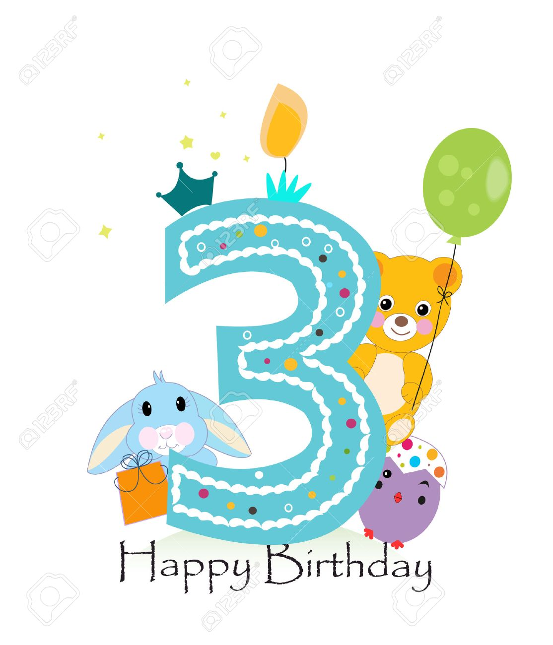 Happy third birthday candle. Baby boy greeting card with bunny, chick and teddy bear vector - 55679506