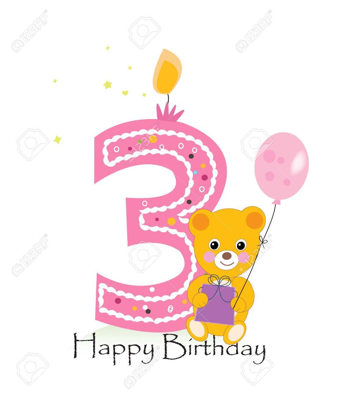 Happy third birthday candle baby birthday greeting card with happy third birthday candle baby birthday greeting card with teddy bear vector background stock vector m4hsunfo