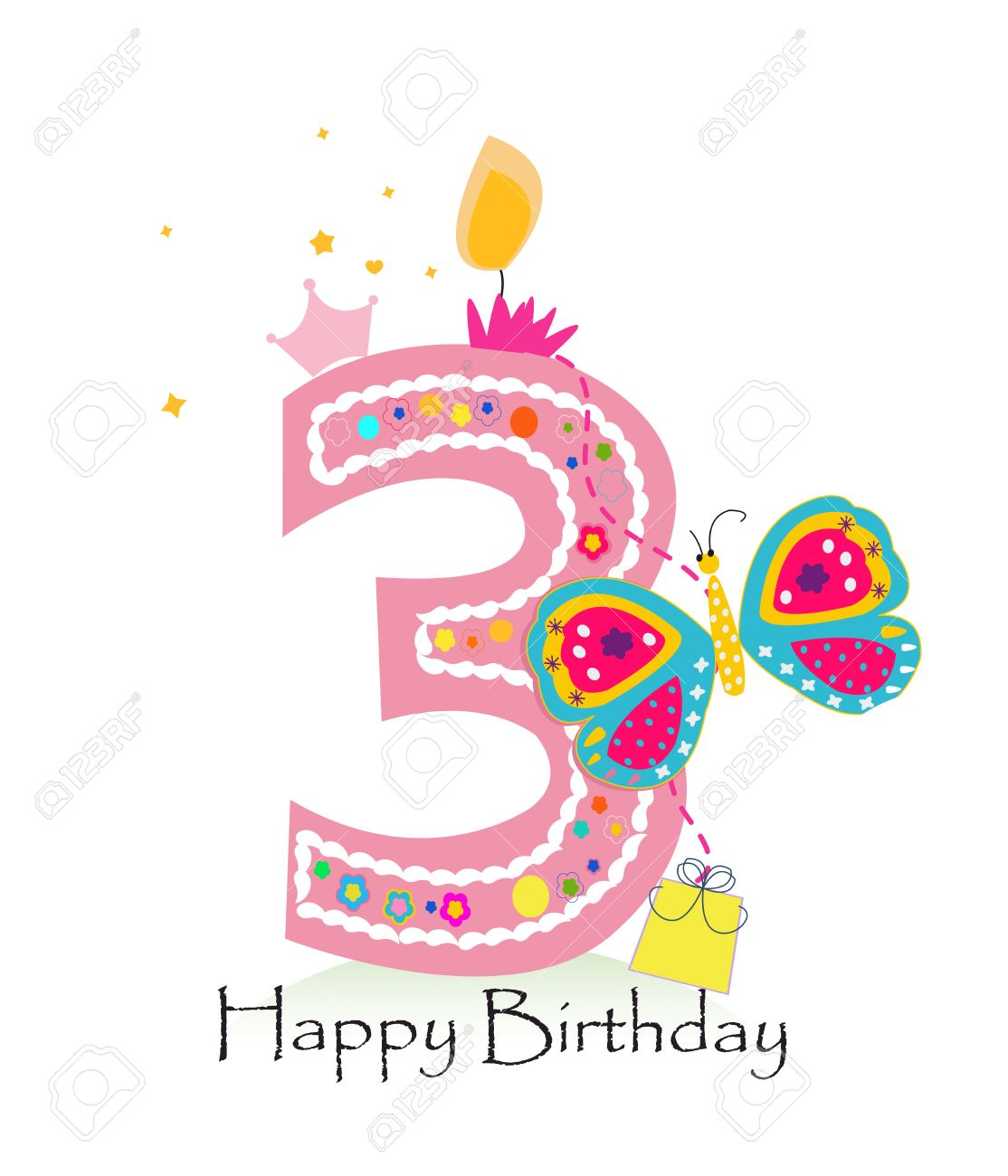 Happy third birthday candle. Baby girl greeting card with butterfly vector background - 55679509