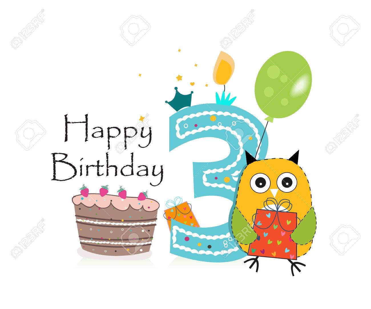 Third Birthday Greeting Card Cute Owl Balloon And Birthday