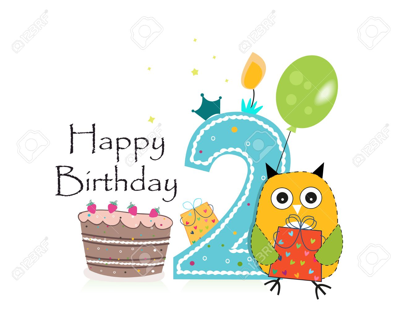 Awesome Second Birthday Greeting Card Cute Owl Balloon And Birthday Funny Birthday Cards Online Chimdamsfinfo