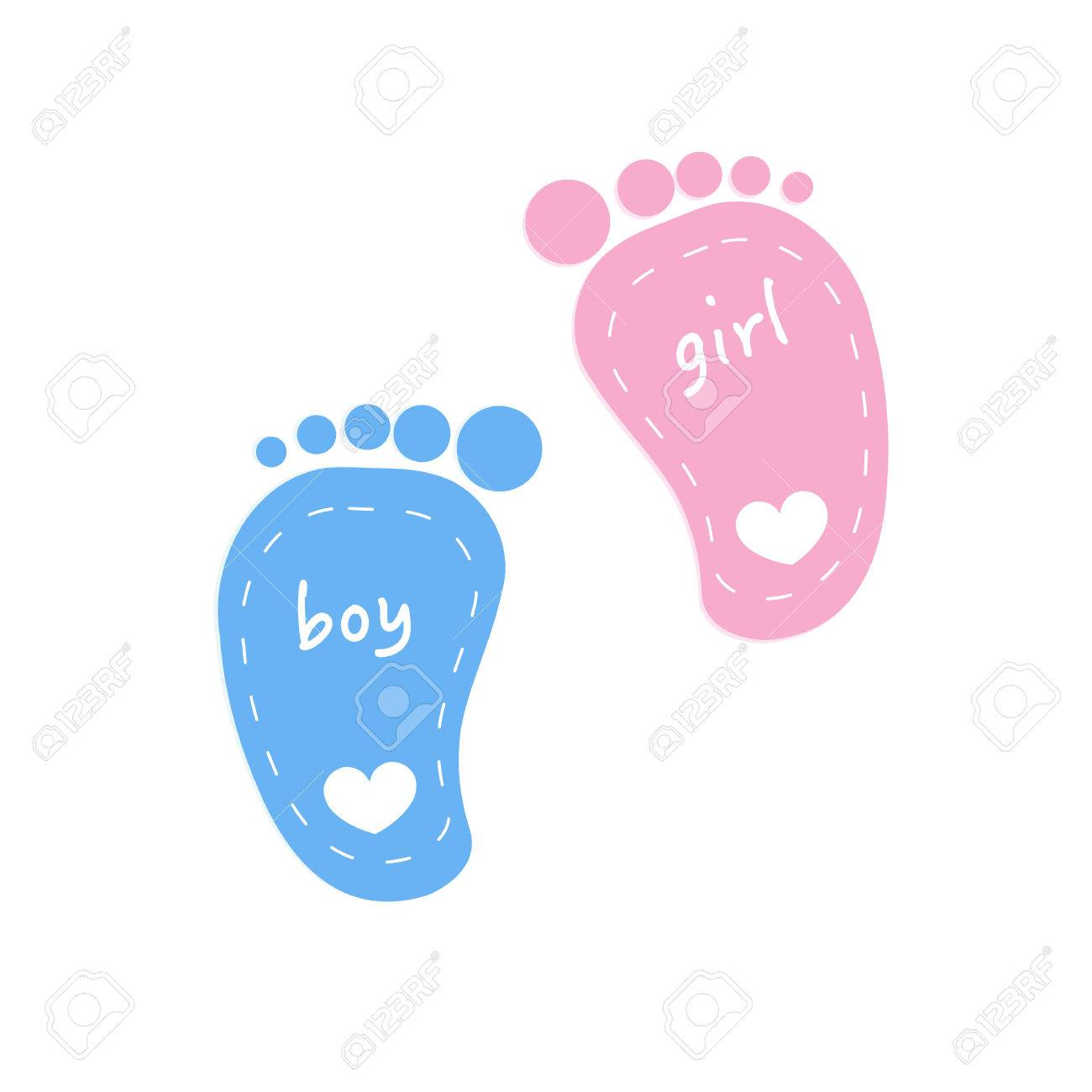 baby footprints twin baby girl and boy vector royalty free cliparts
