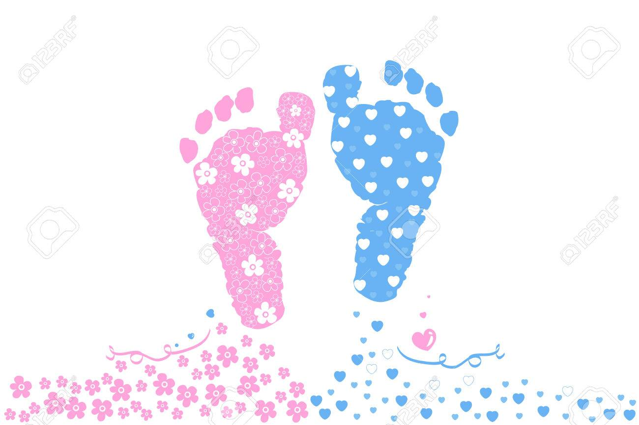 twin baby boy and girl baby foot prints baby arrival greeting