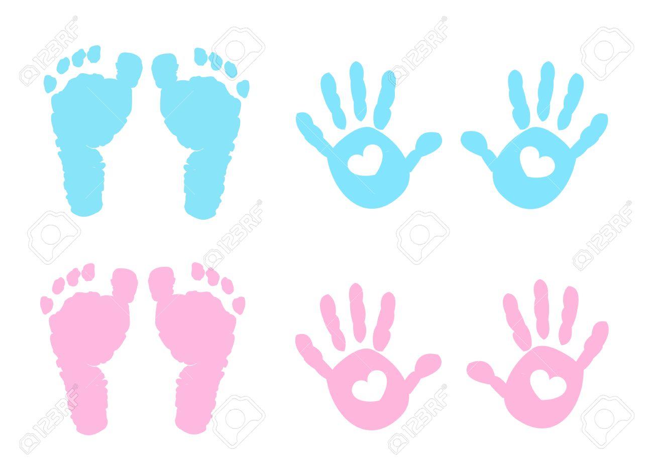 baby girl baby boy vector illustration hand and foot print royalty