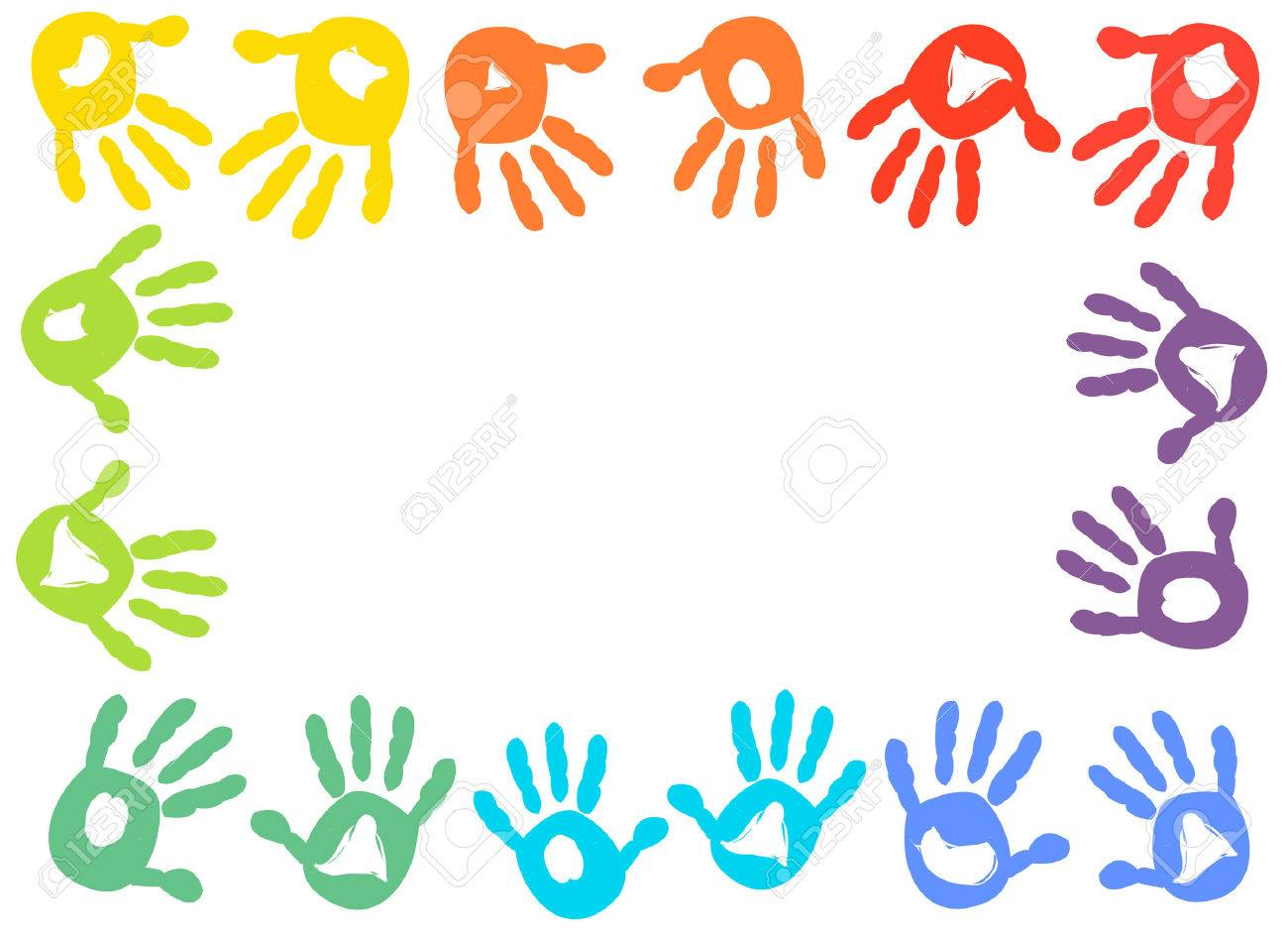 Colorful Kids Handprint Frame Vector Background Royalty Free ...