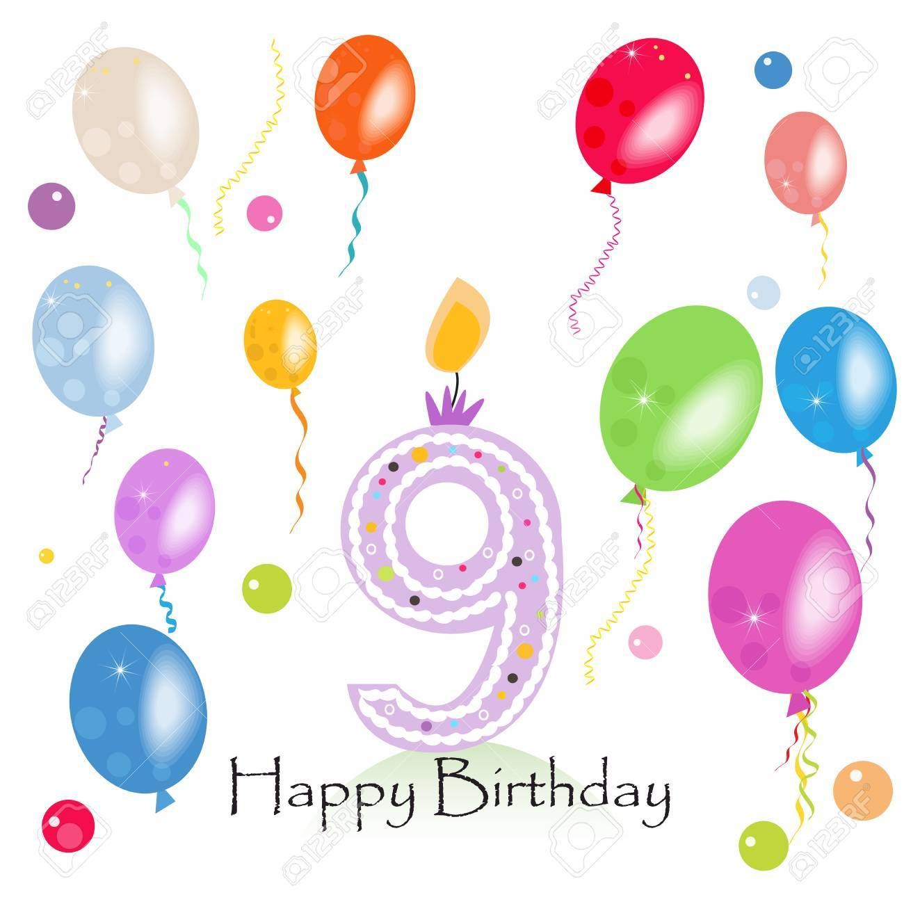Happy Ninth Birthday Candle Vector With Colorful Confetti And Balloons Illustration Card