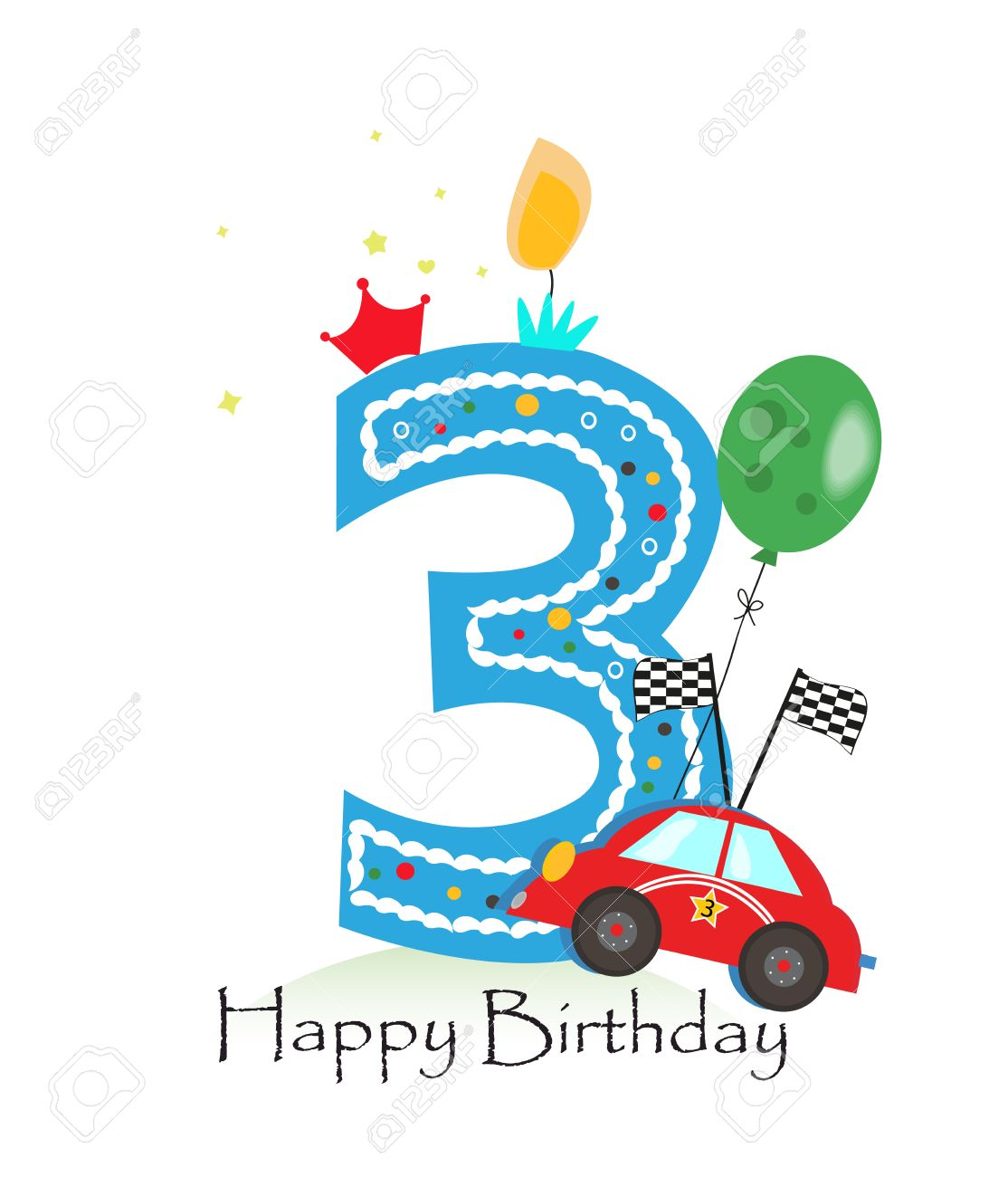 Happy third birthday candle baby boy greeting card with race baby boy greeting card with race car vector illustration stock vector biocorpaavc Images