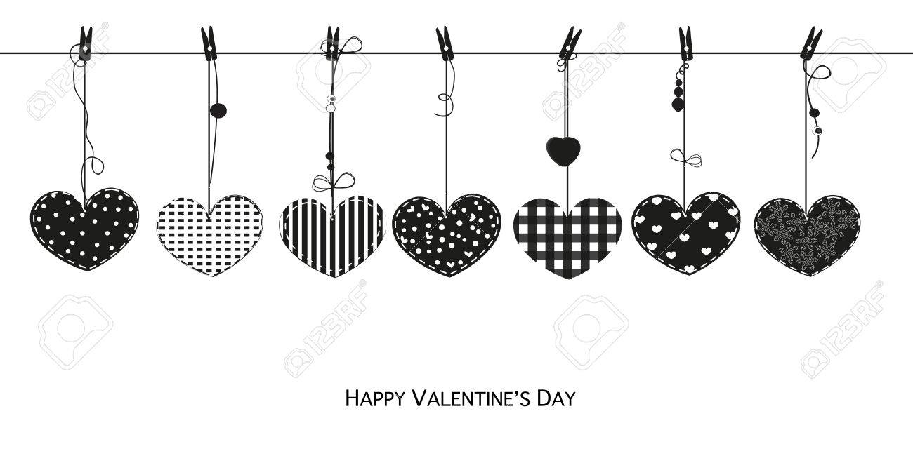 Happy valentines day card with hanging black love valentines