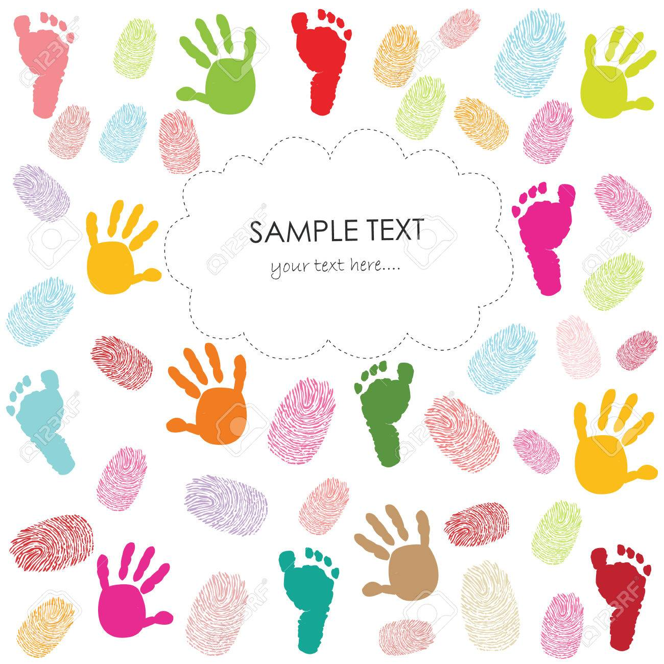 Baby Footprint Hand Prints And Finger Prints Kids Greeting Card