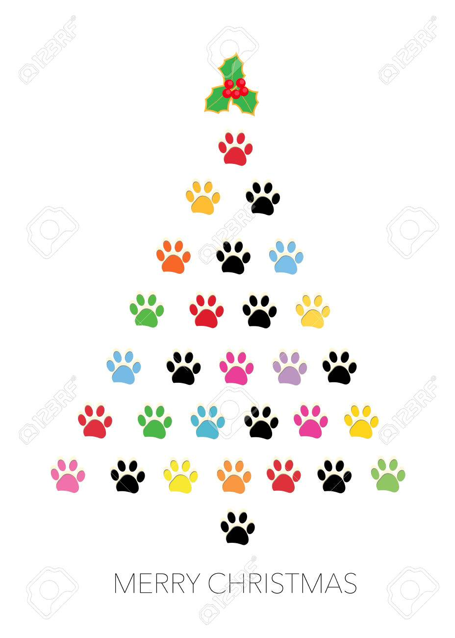 Colorful Paw Print Reem Christmas Greeting Card Vector Illustration Stock  Vector   66080181