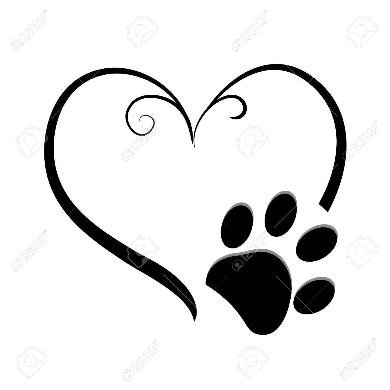 Dog paw prints with heart symbol  Tattoo design, vector illustration