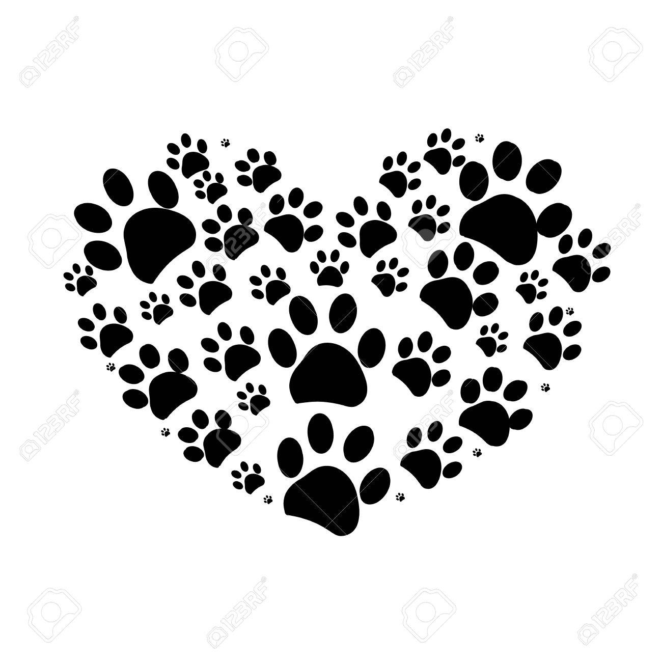Impression De Patte De Chien En Arriere Plan De Coeur Vector Illustration