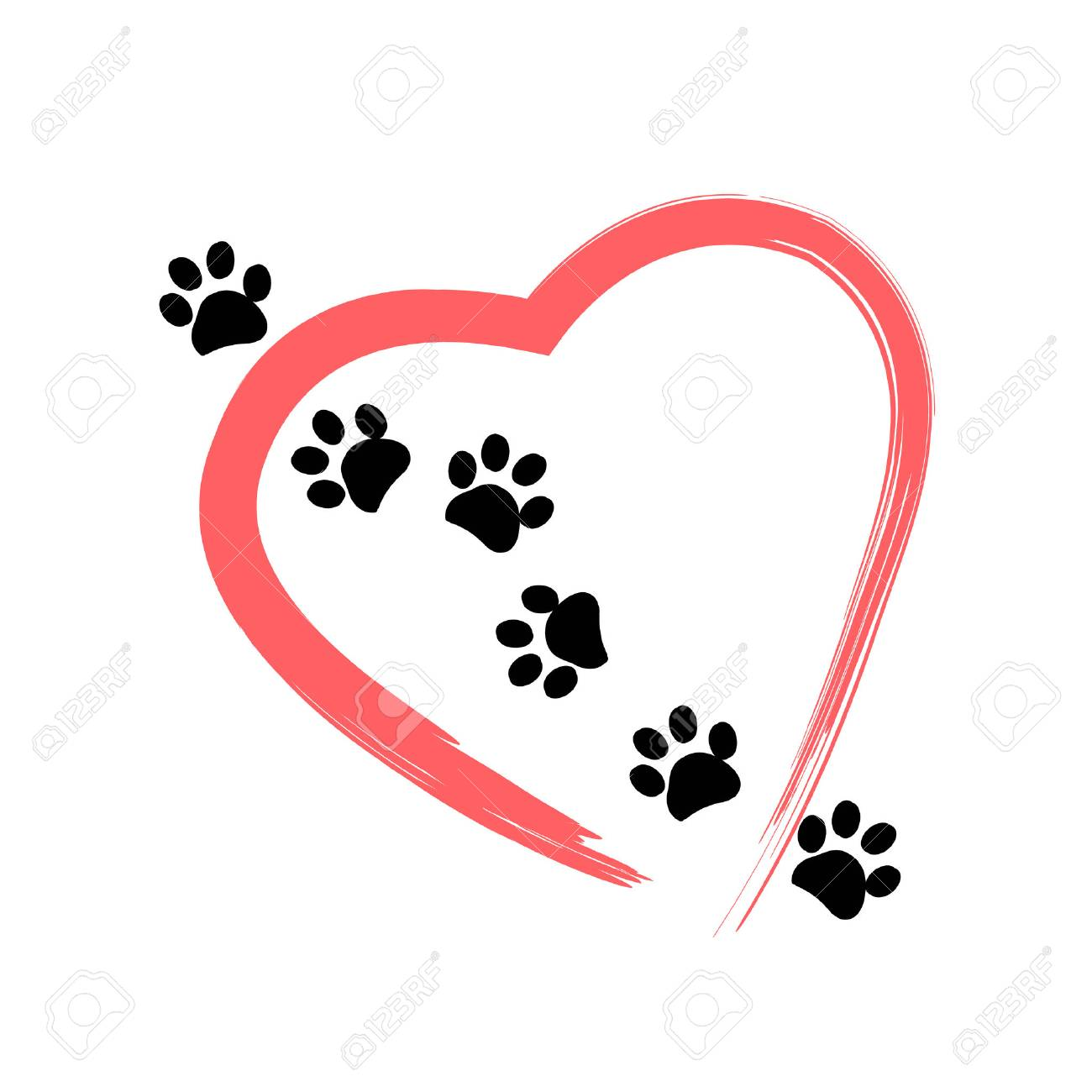 Made of red heart with dog paw print background vector illustration - 66080248