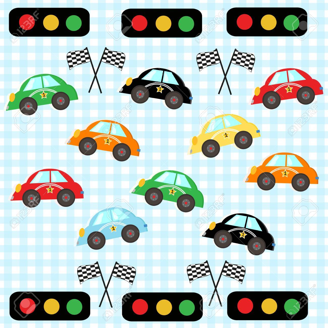 Colorful Race Car. Kids Room Wallpaper Pattern Cars Vector Illustration  Royalty Free Cliparts, Vectors, And Stock Illustration. Image 66080286.