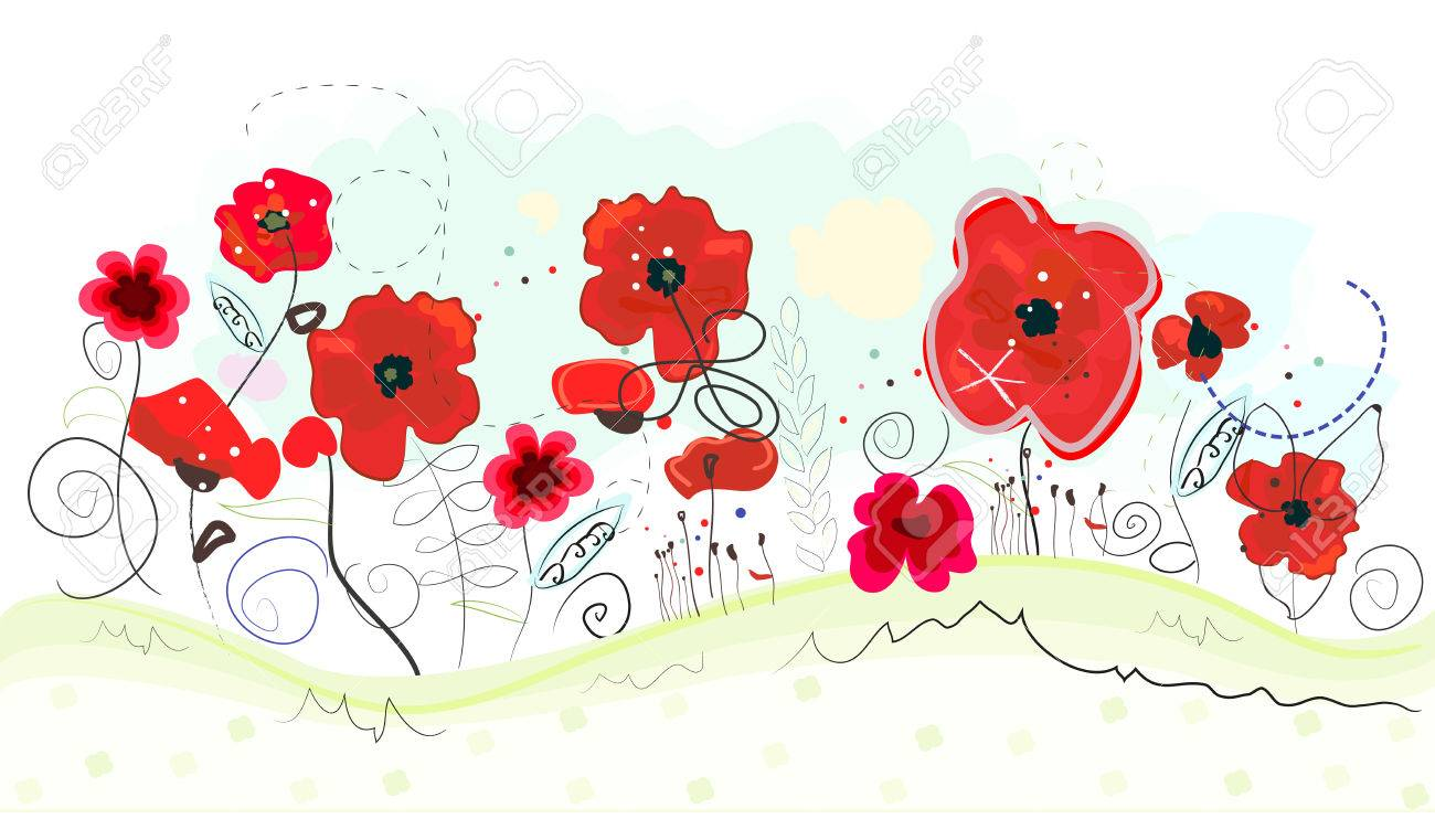 Abstract Doodle Flowers And Red Poppies Vector Background Spring