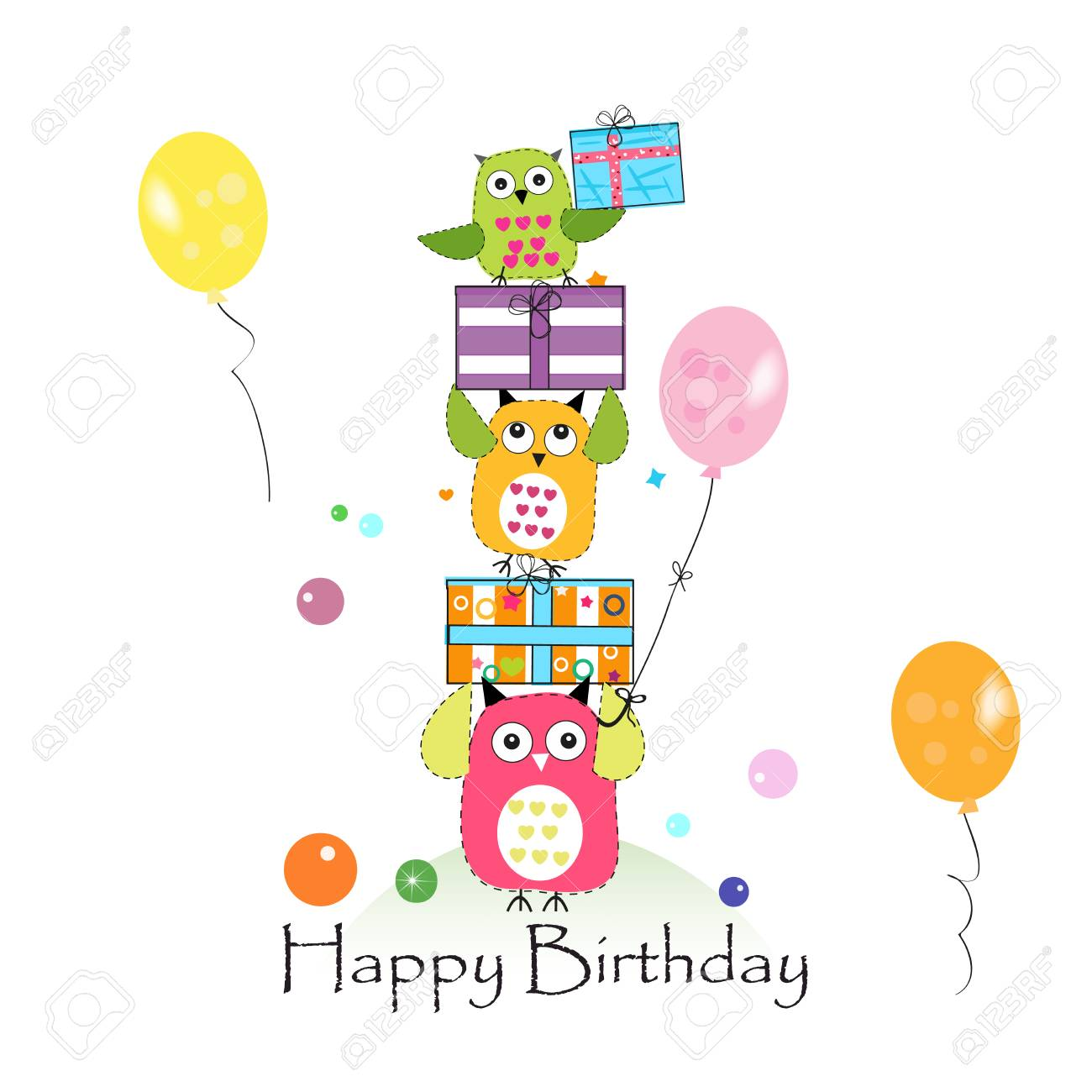 happy birthday with owls and gift box baby birthday greeting