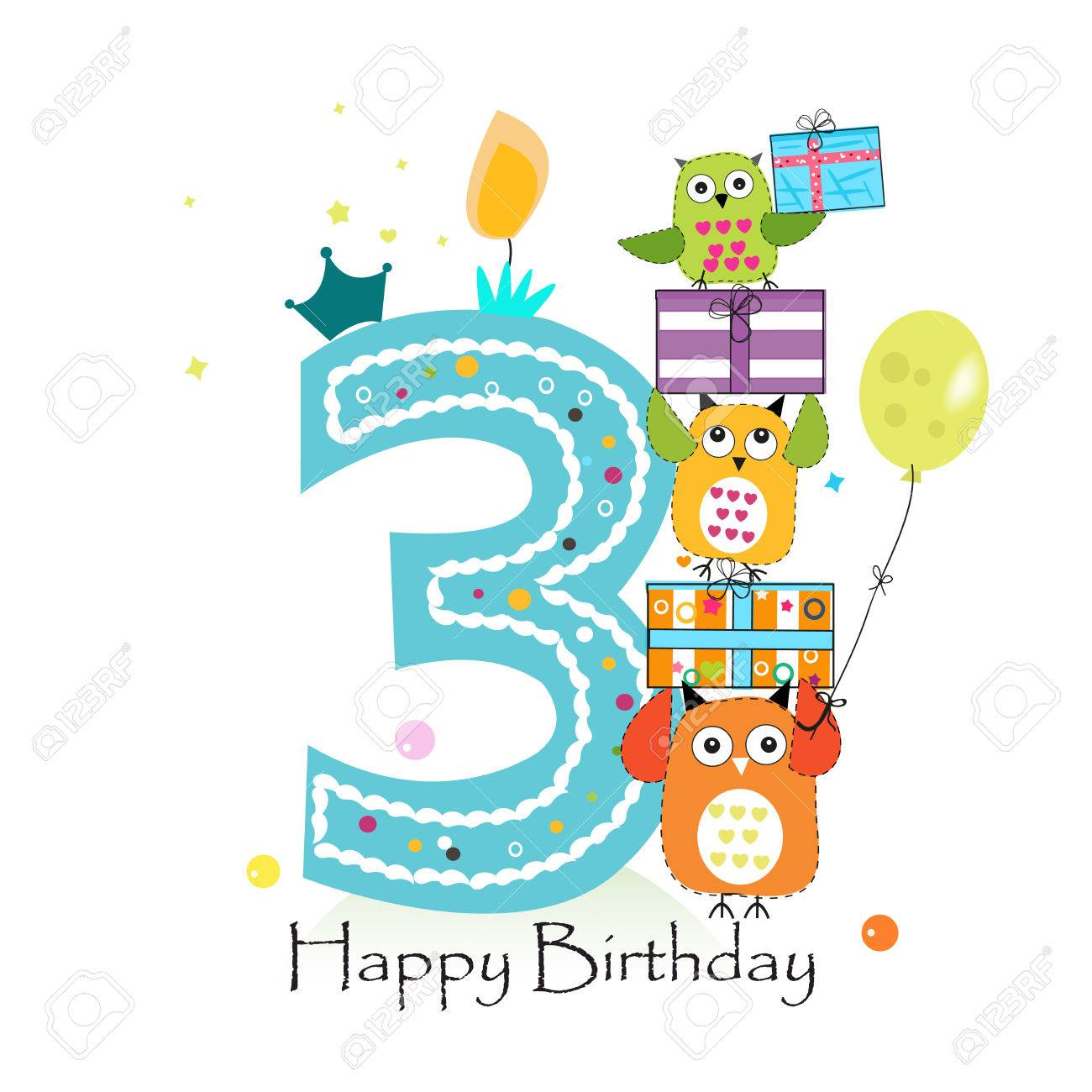 Happy Third Birthday With Owls And Gift Box Baby Boy Greeting Card Vector Illustration