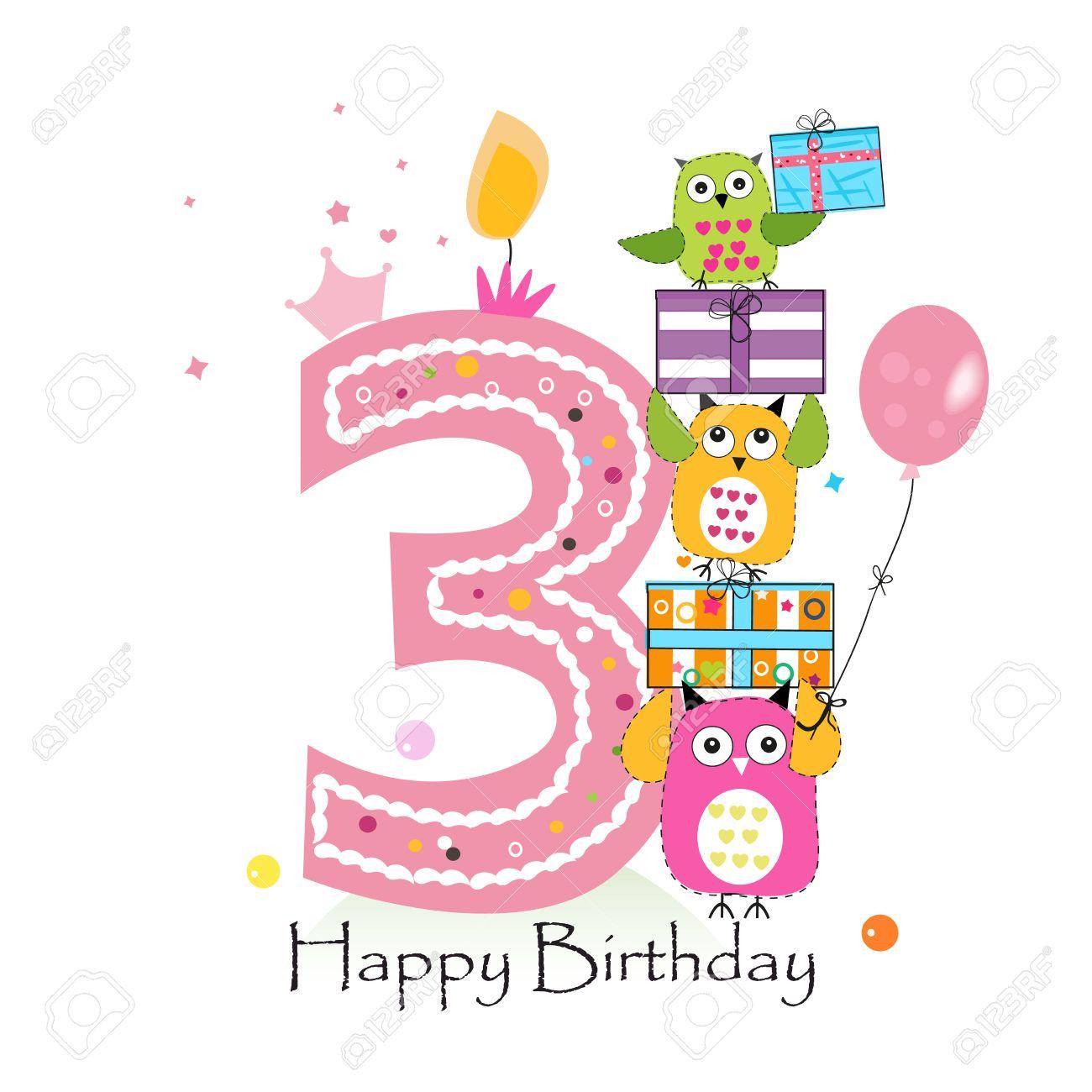Happy Third Birthday With Owls And Gift Box Baby Girl Birthday