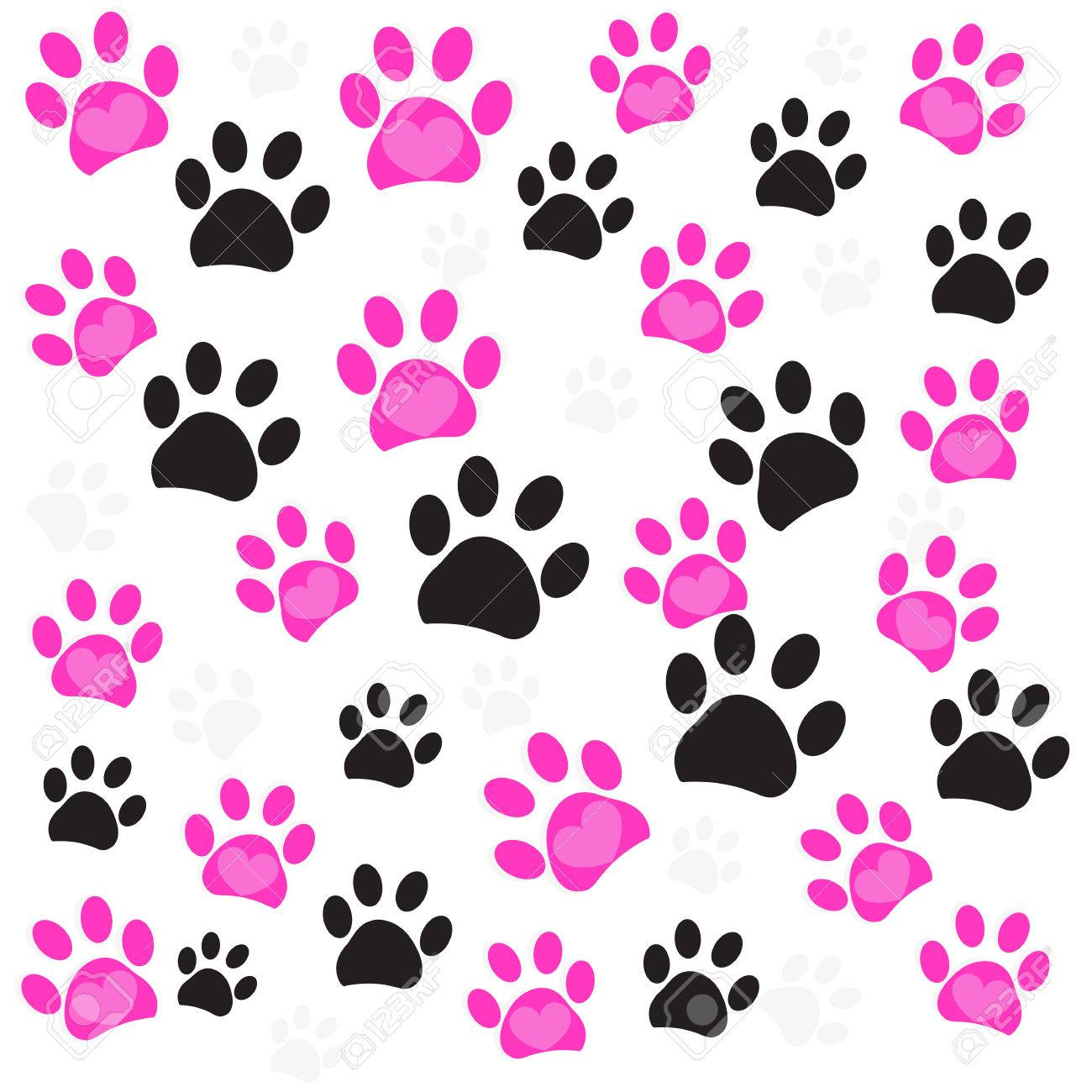 pink heart paw prints and black paw print pattern vector rh 123rf com paw print vector free download paw print vector art