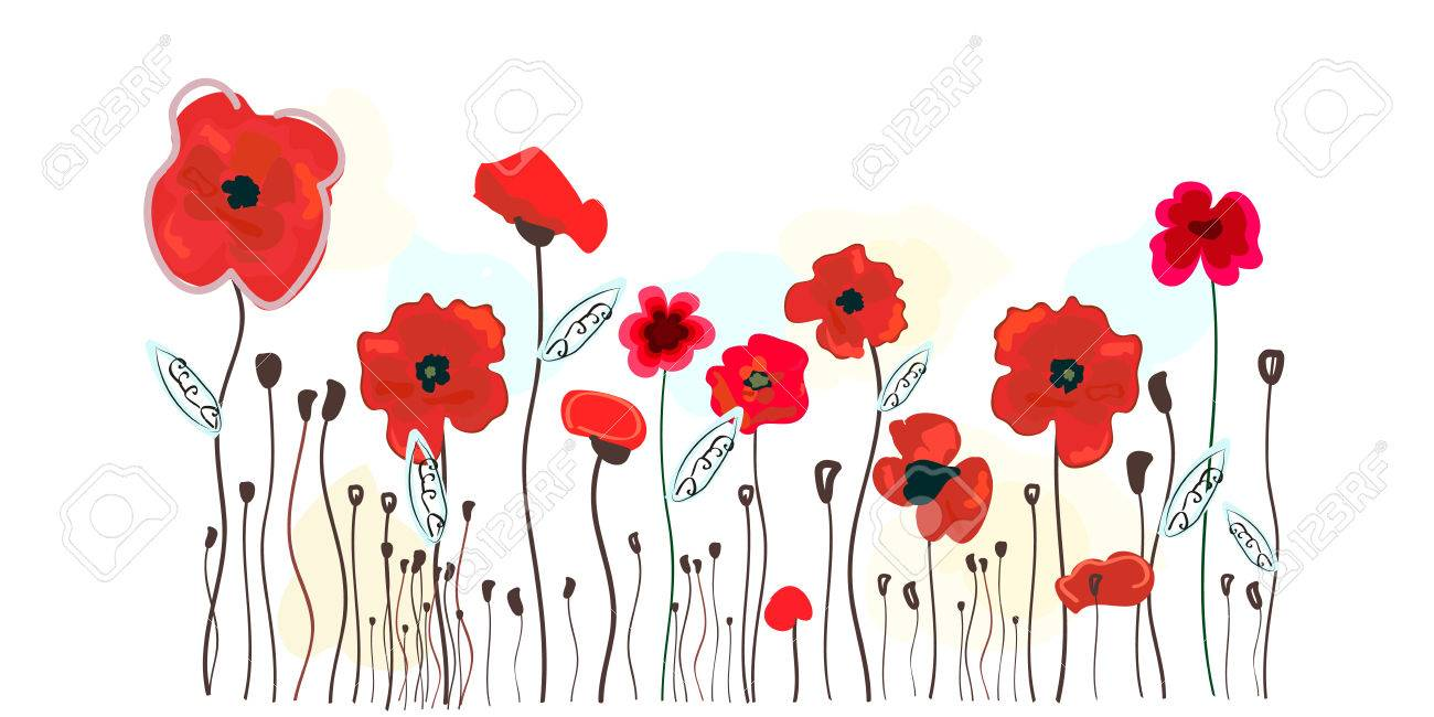 Watercolor Red Poppies Design Poppy Red Flowers Vector Illustration