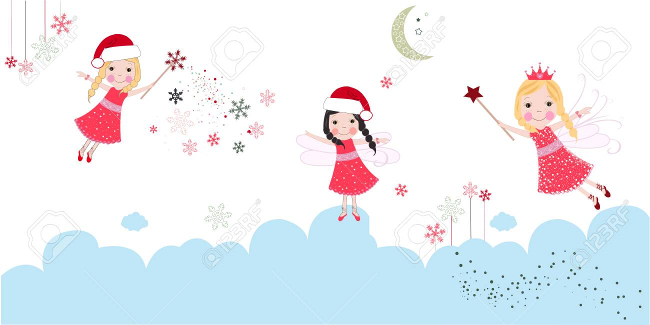 Cute Christmas Angels Merry Christmas Greeting Card Royalty Free