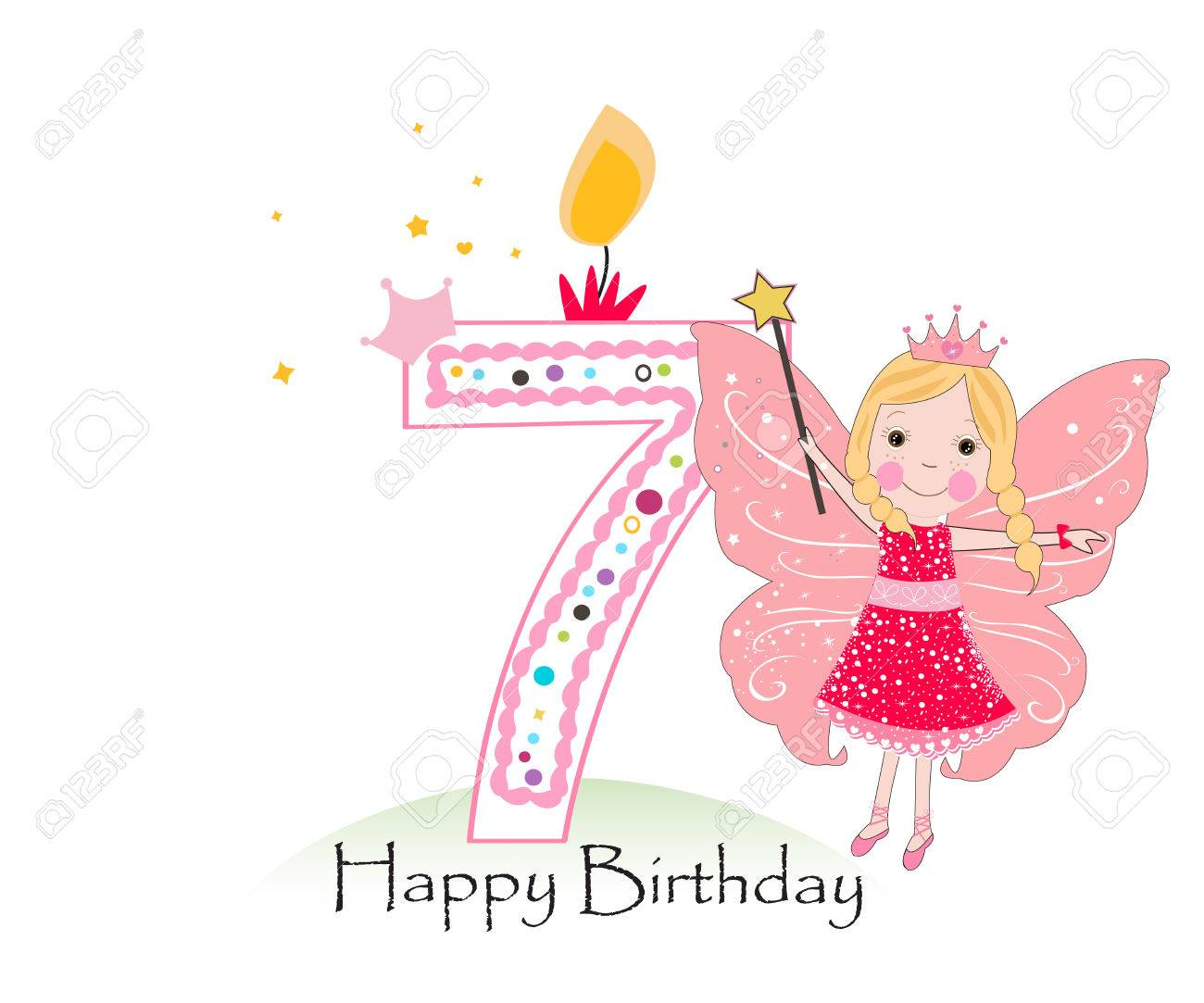 Happy Seventh Birthday Candle Baby Girl Greeting Card With Fairy Tale Vector Background Stock