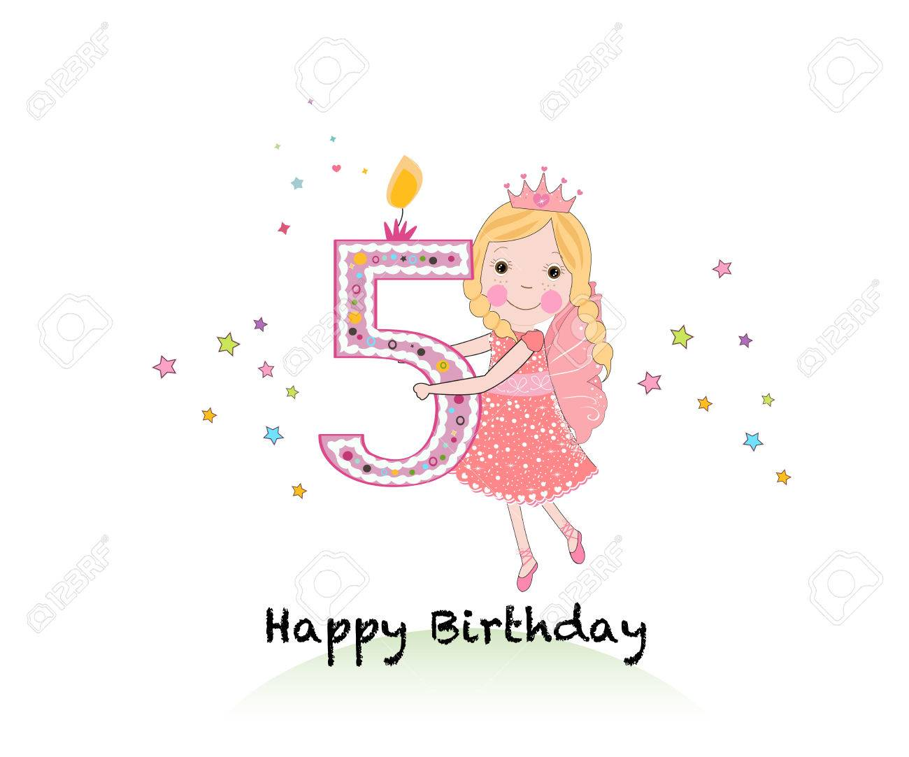 Happy Fifth Birthday Candle Girl Greeting Card With Cute Fairy