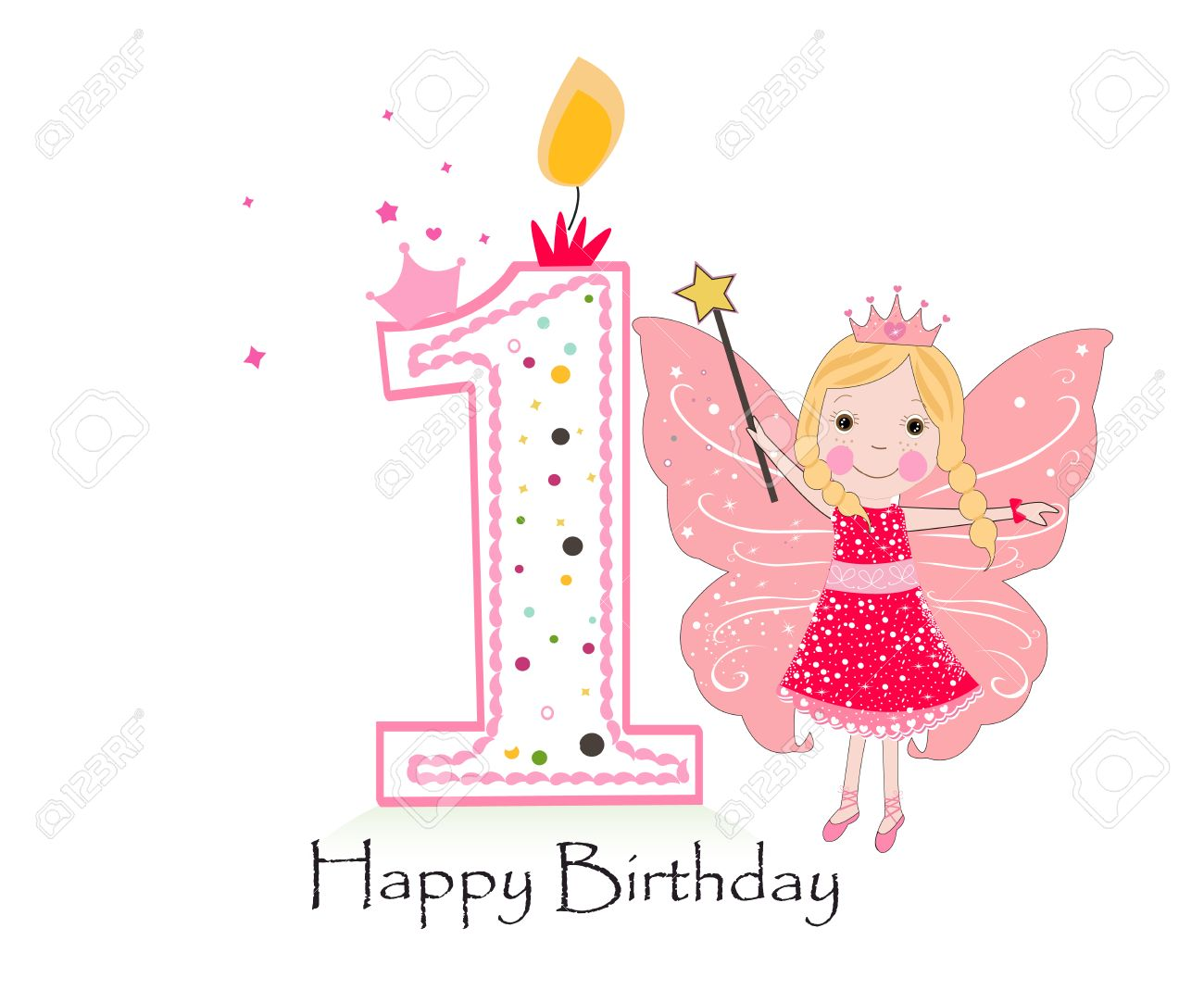 Happy first birthday candle baby girl greeting card with fairy baby girl greeting card with fairy tale vector background stock vector m4hsunfo