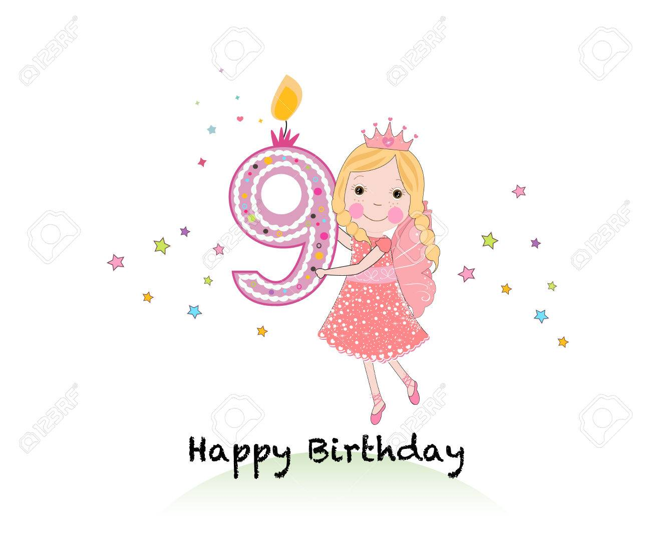 Happy ninth birthday candle girl greeting card with cute fairy happy ninth birthday candle girl greeting card with cute fairy tale vector background stock vector bookmarktalkfo Images