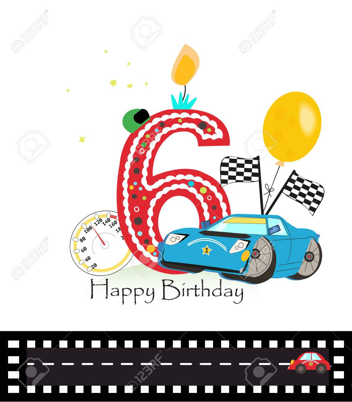 Happy Sixth Birthday Candle Baby Boy Greeting Card With Race Car Vector Illustration Stock
