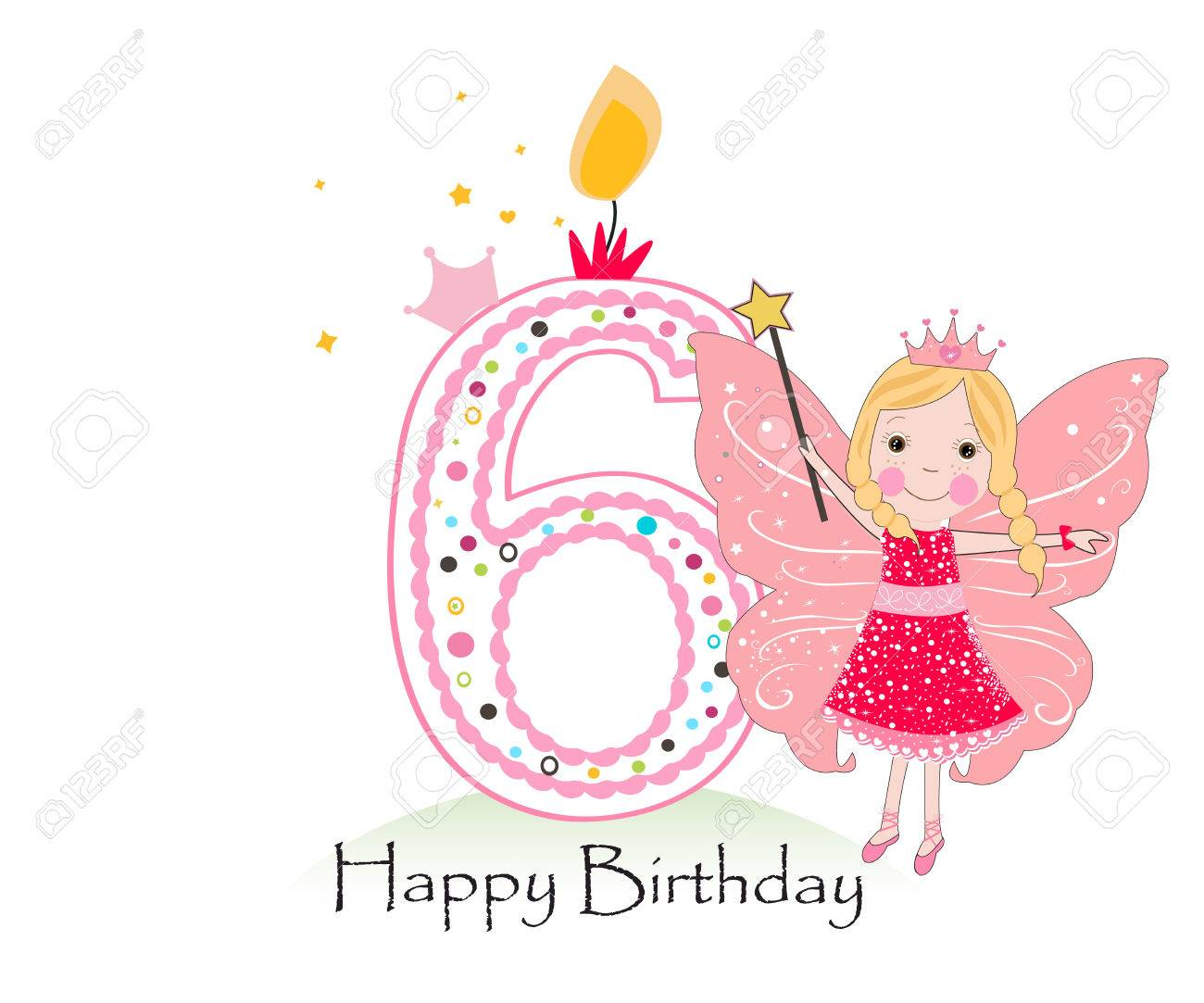 Happy Sixth Birthday Candle Baby Girl Greeting Card With Fairy Tale Vector Background Stock
