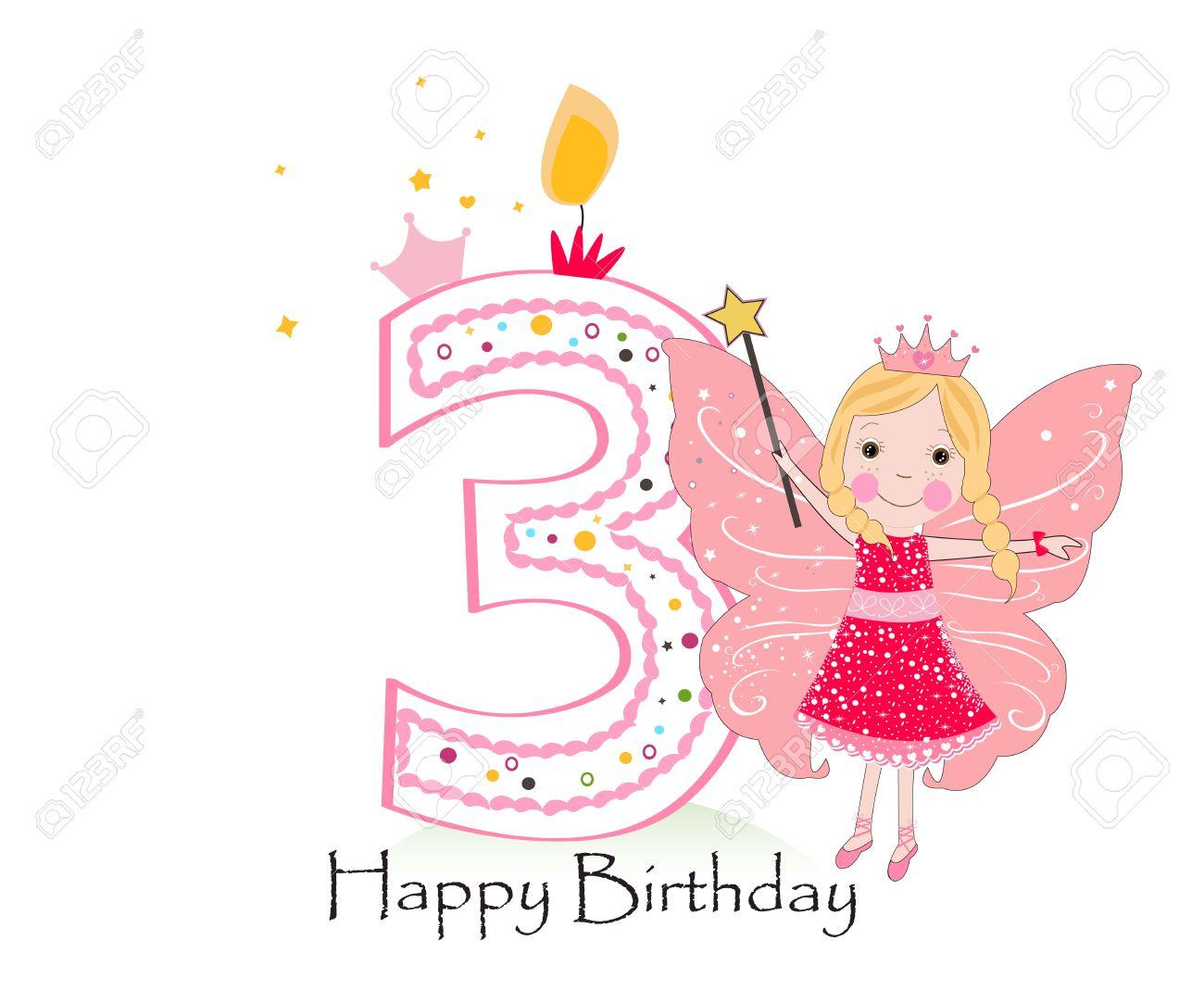 Happy third birthday candle baby girl greeting card with fairy happy third birthday candle baby girl greeting card with fairy tale vector background stock vector kristyandbryce Choice Image