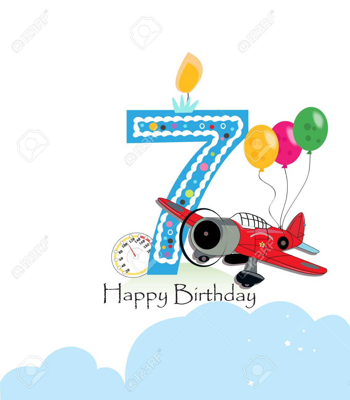 Seventh Birthday Greeting Card The Plane And Balloon Happy Birthday