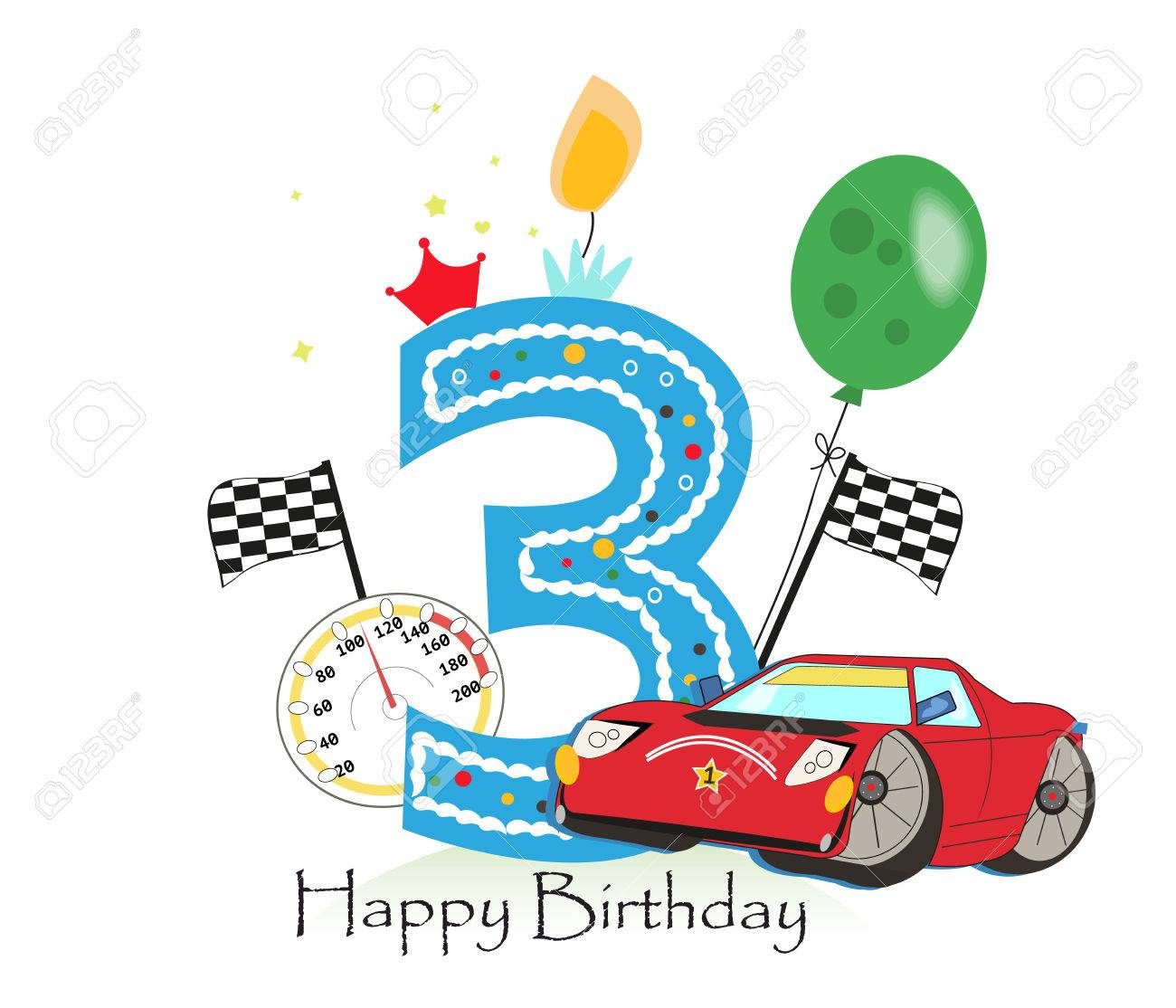 Dritter Geburtstag Grusskarte Auto Vektor Illustration Hintergrund