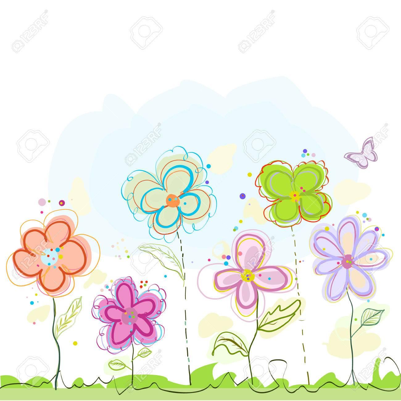 カラフルな春の花イラスト背景のイラスト素材ベクタ Image 78927264