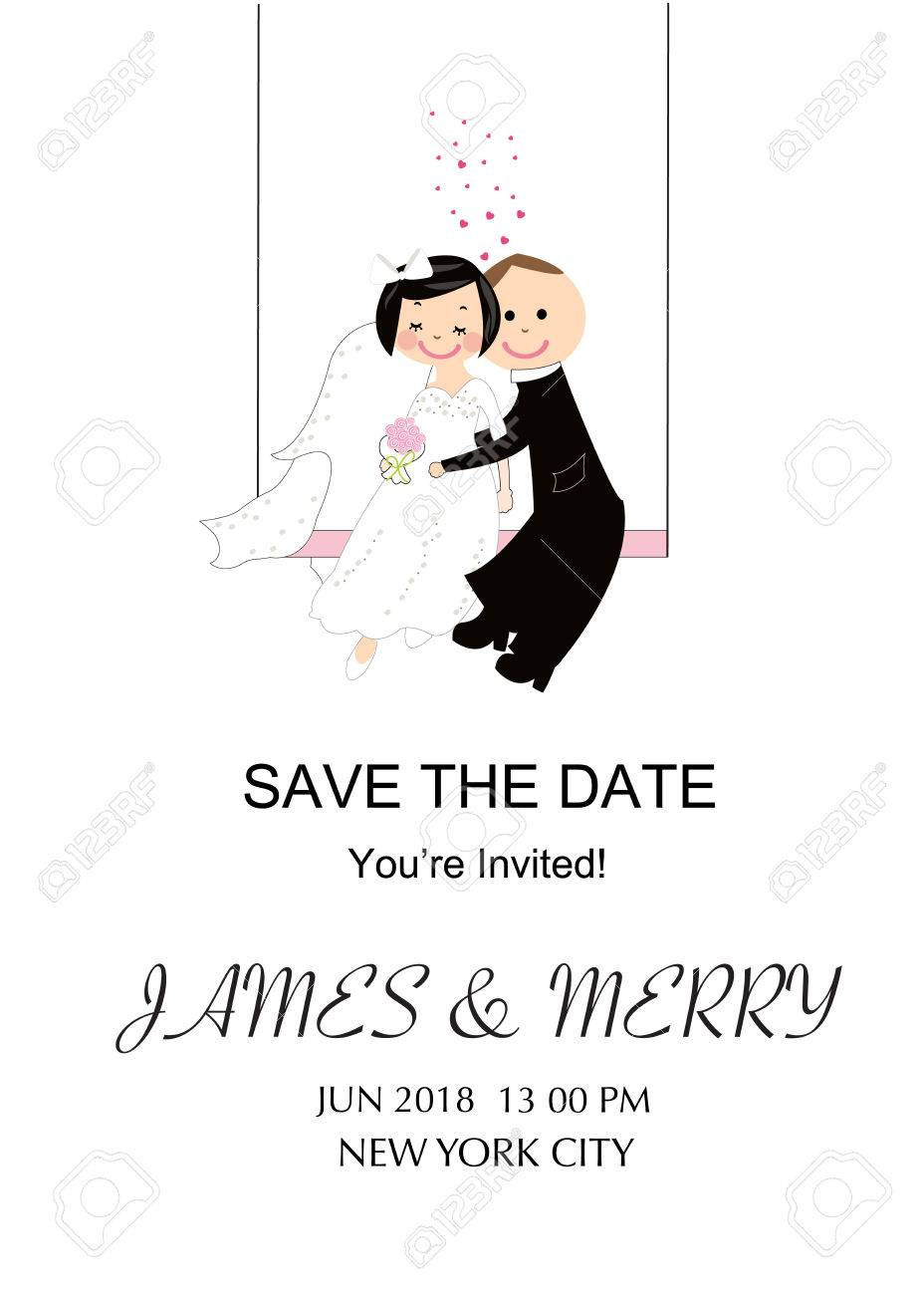 Wedding Invitation Card. Funny Wedding Couple. Royalty Free Cliparts ...