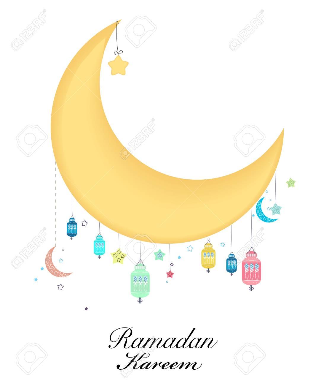 Ramadan kareem with moon and star ramadan night traditional ramadan kareem with moon and star ramadan night traditional lantern of ramadan greeting card stock m4hsunfo