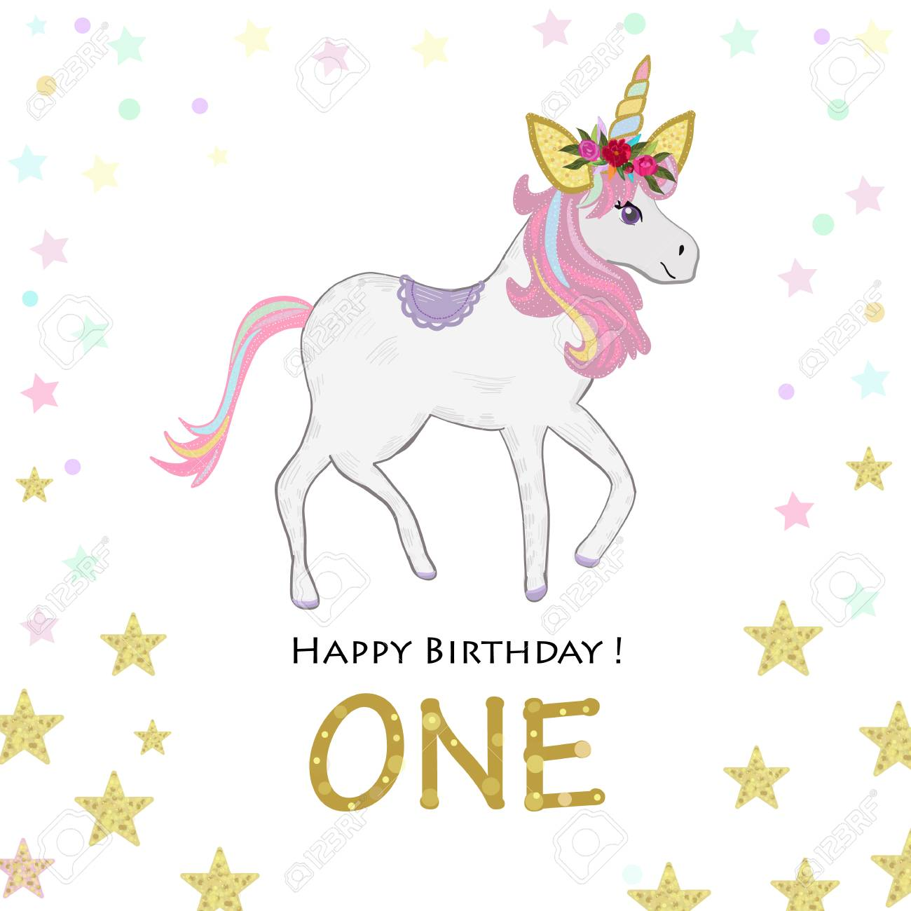 Birthday Greeting Card Design For One Year Old Template Stock Vector