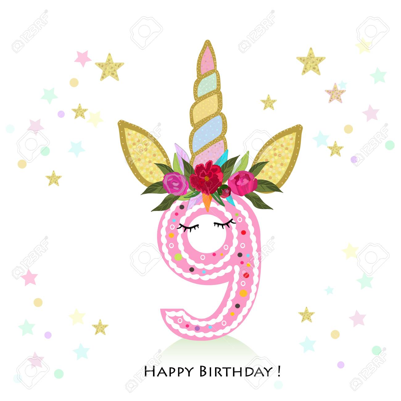 Birthday Greeting Card Design For 9 Year Old Template Stock Vector