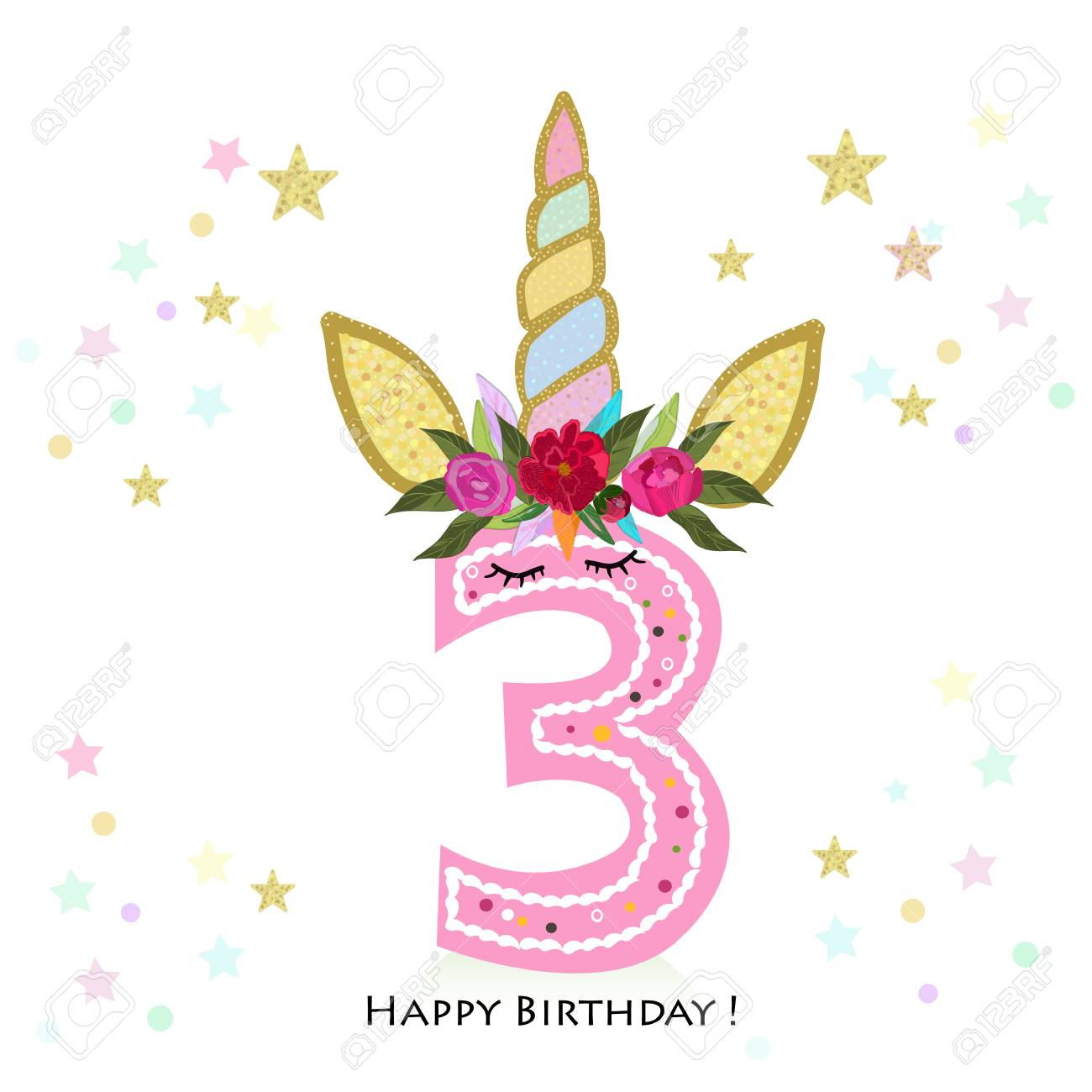 Birthday Greeting Card Design For 3 Year Old Template Stock Vector