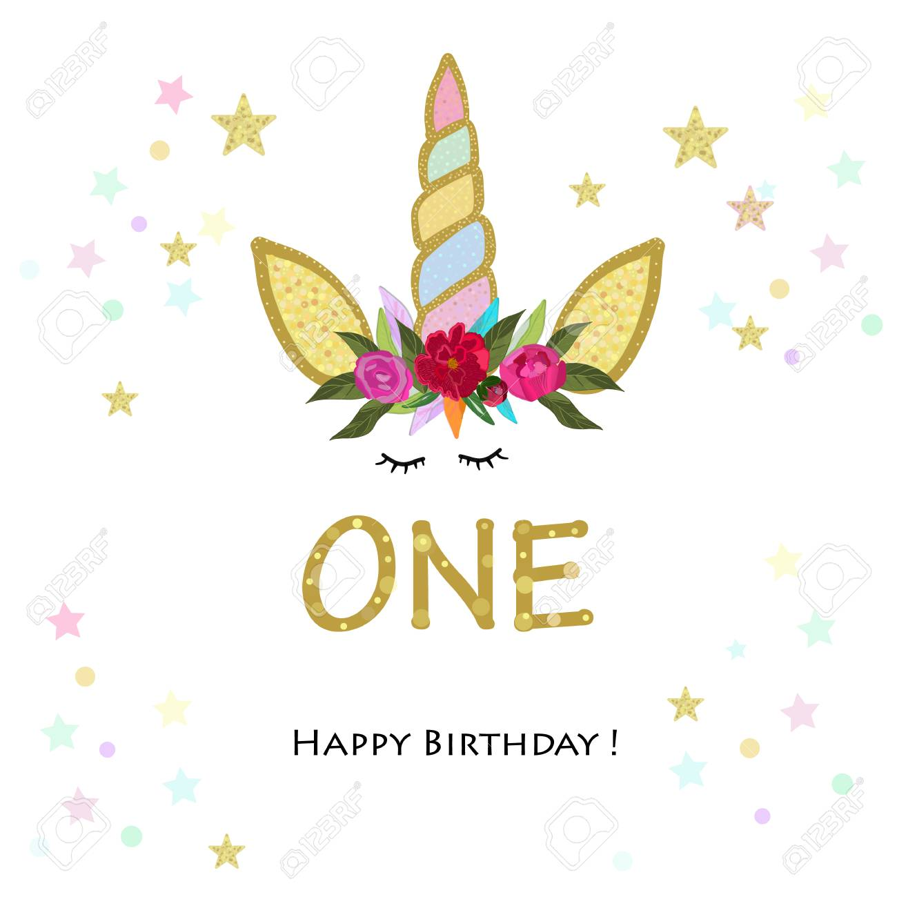 Birthday Greeting Card Design For 1 Year Old Template