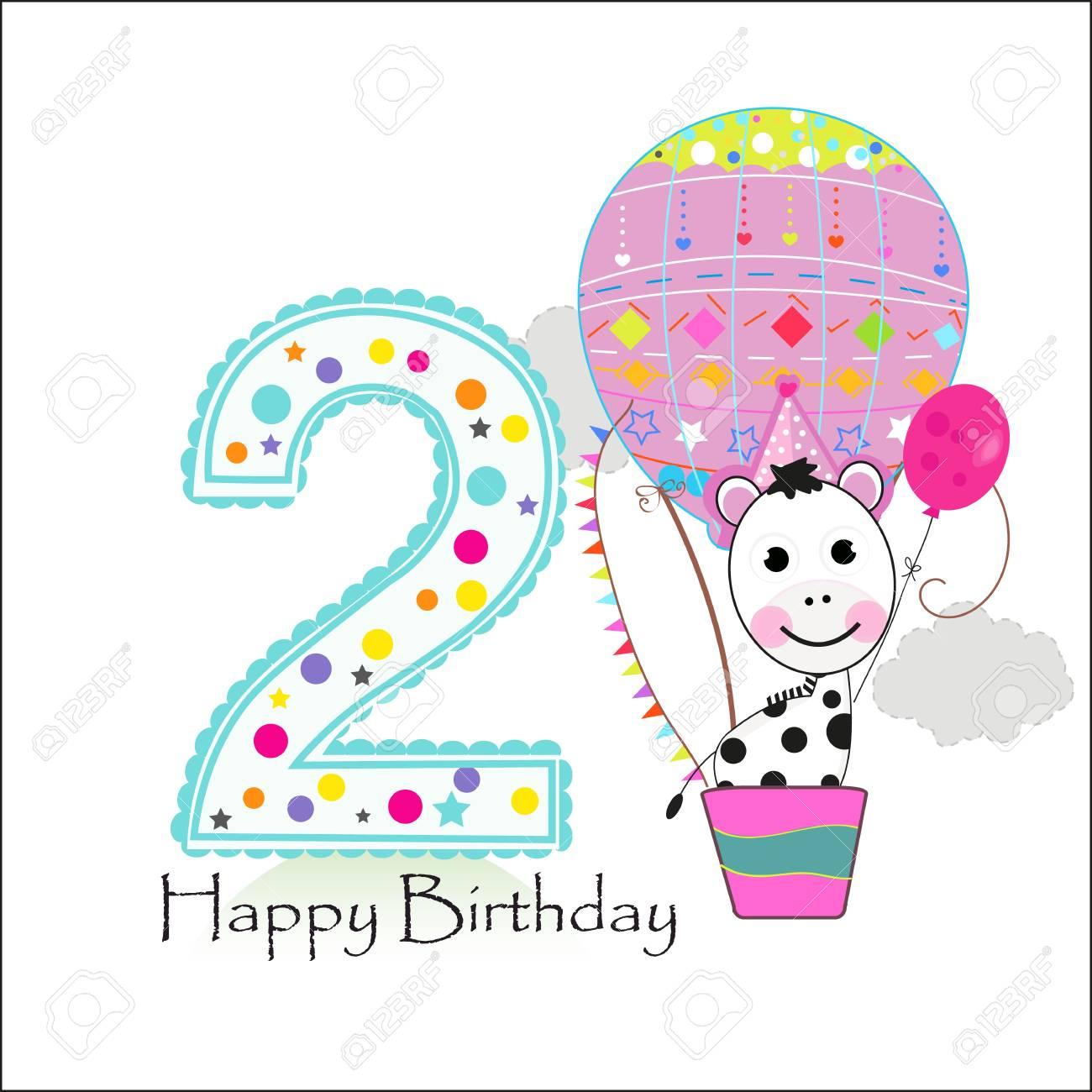 Air Balloon And Zebra Happy Birthday Greeting Card