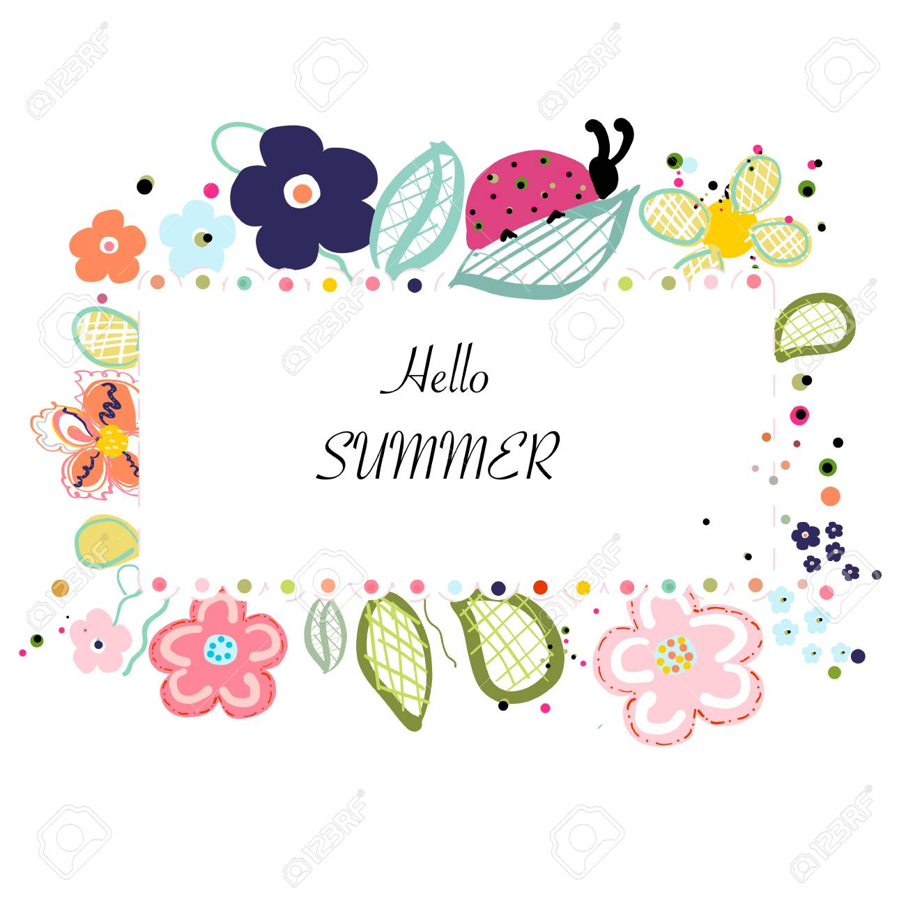 Abstract decorative summer flowers background - 112140231
